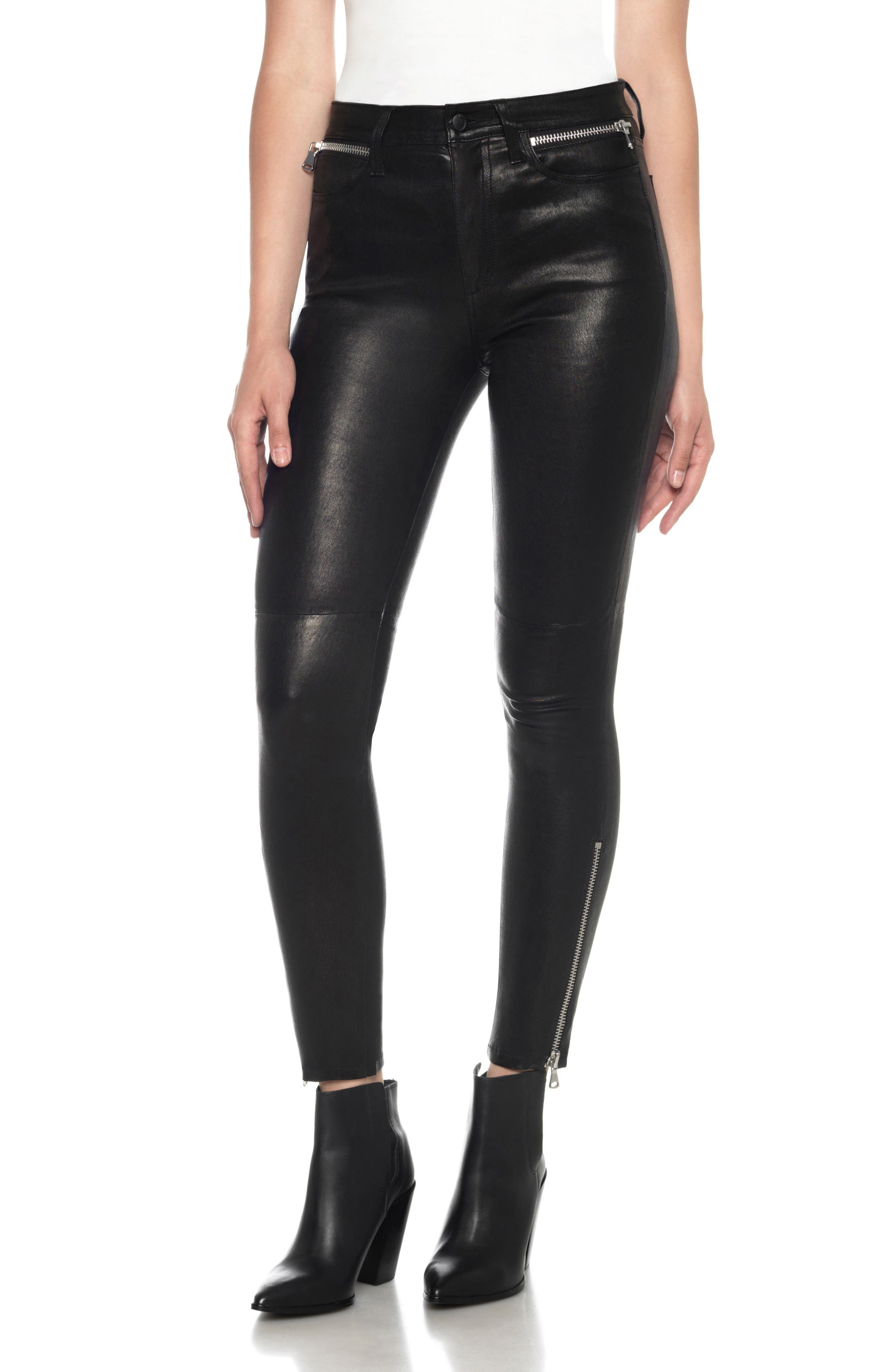 Joe's Charlie Lambskin Leather Ankle Skinny Pants