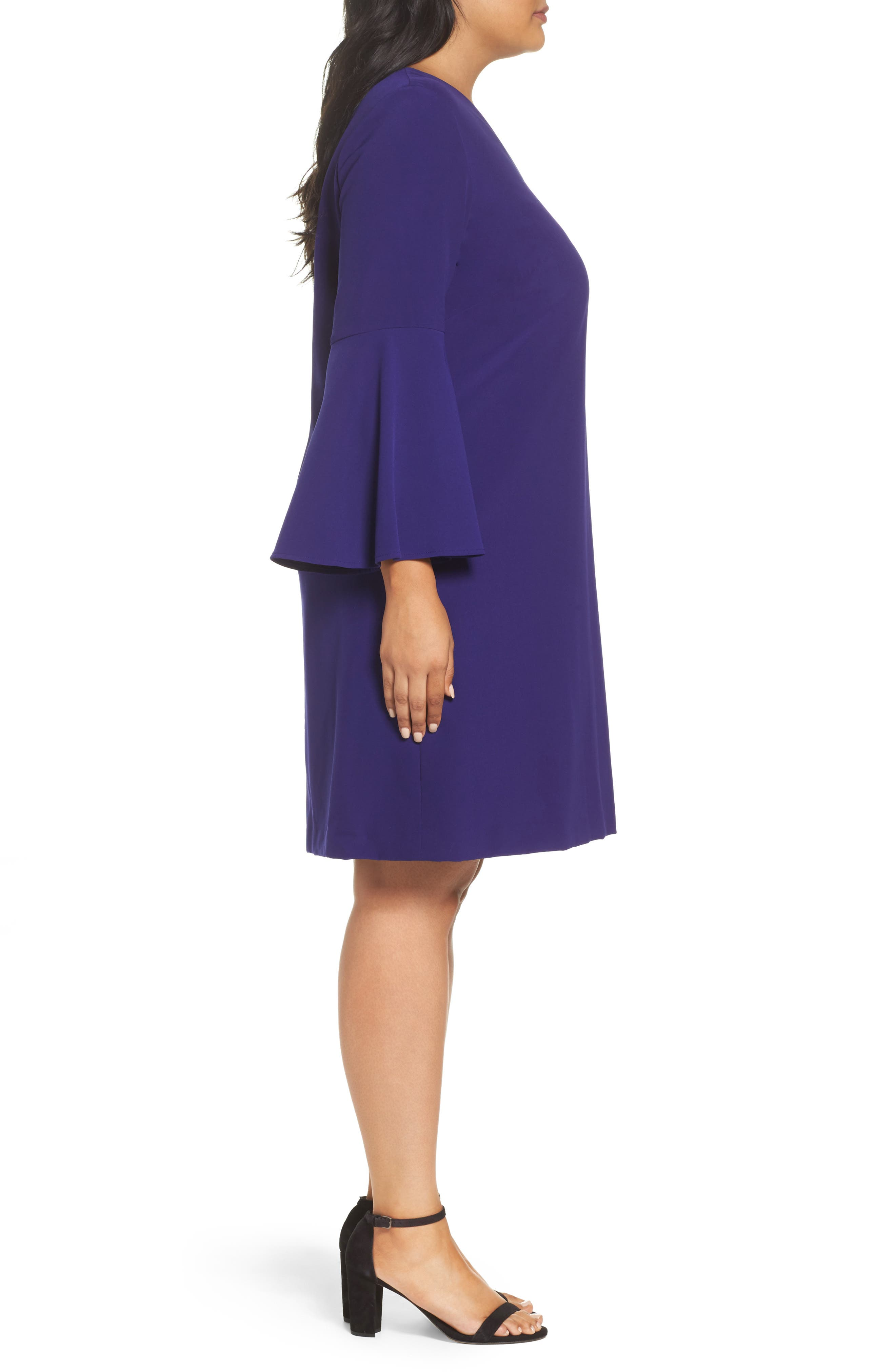 Bell Sleeve Crepe Shift Dress,                             Alternate thumbnail 3, color,                             Violet