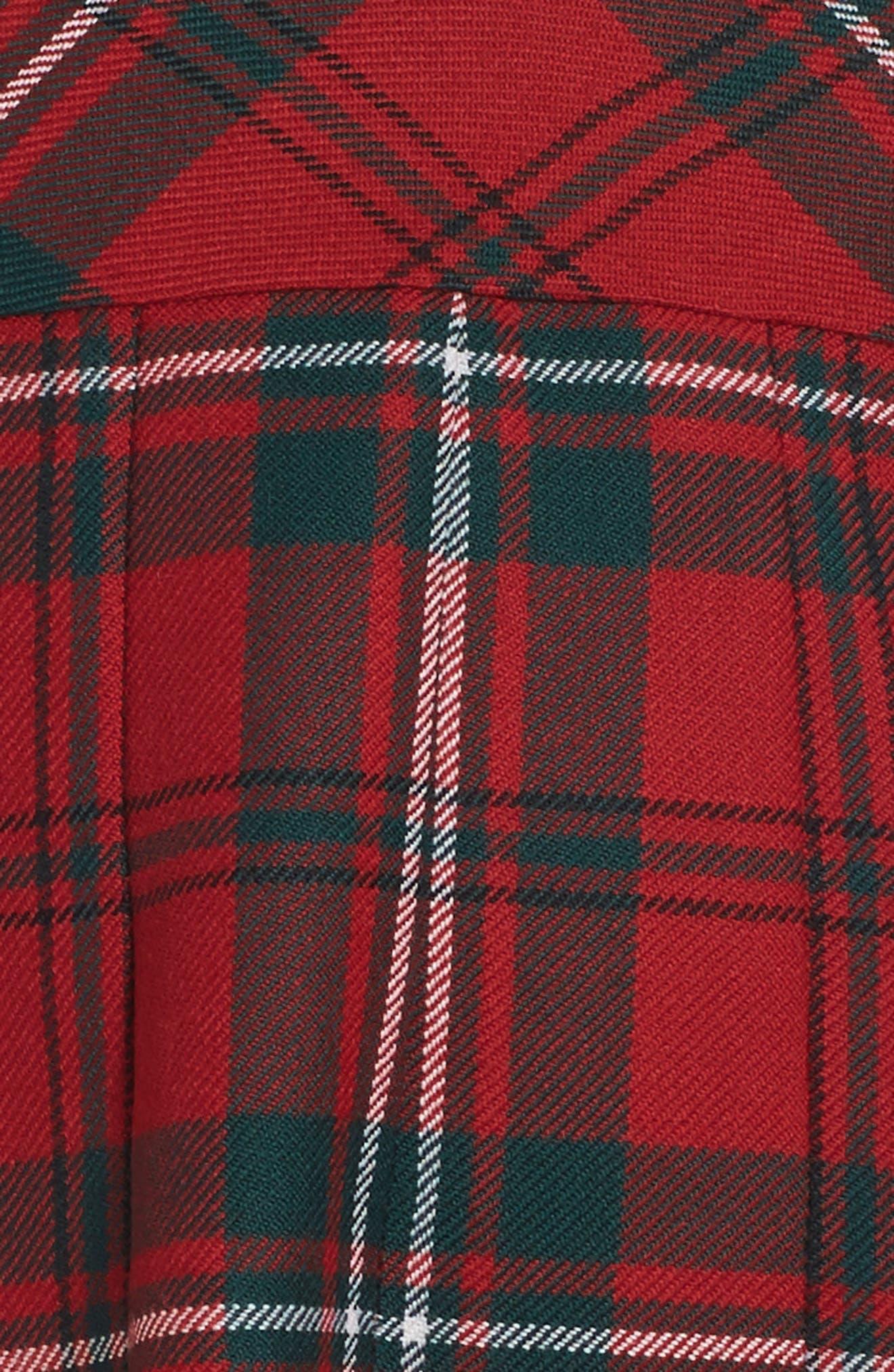 Plaid Wool Dress,                             Alternate thumbnail 3, color,                             Ruby