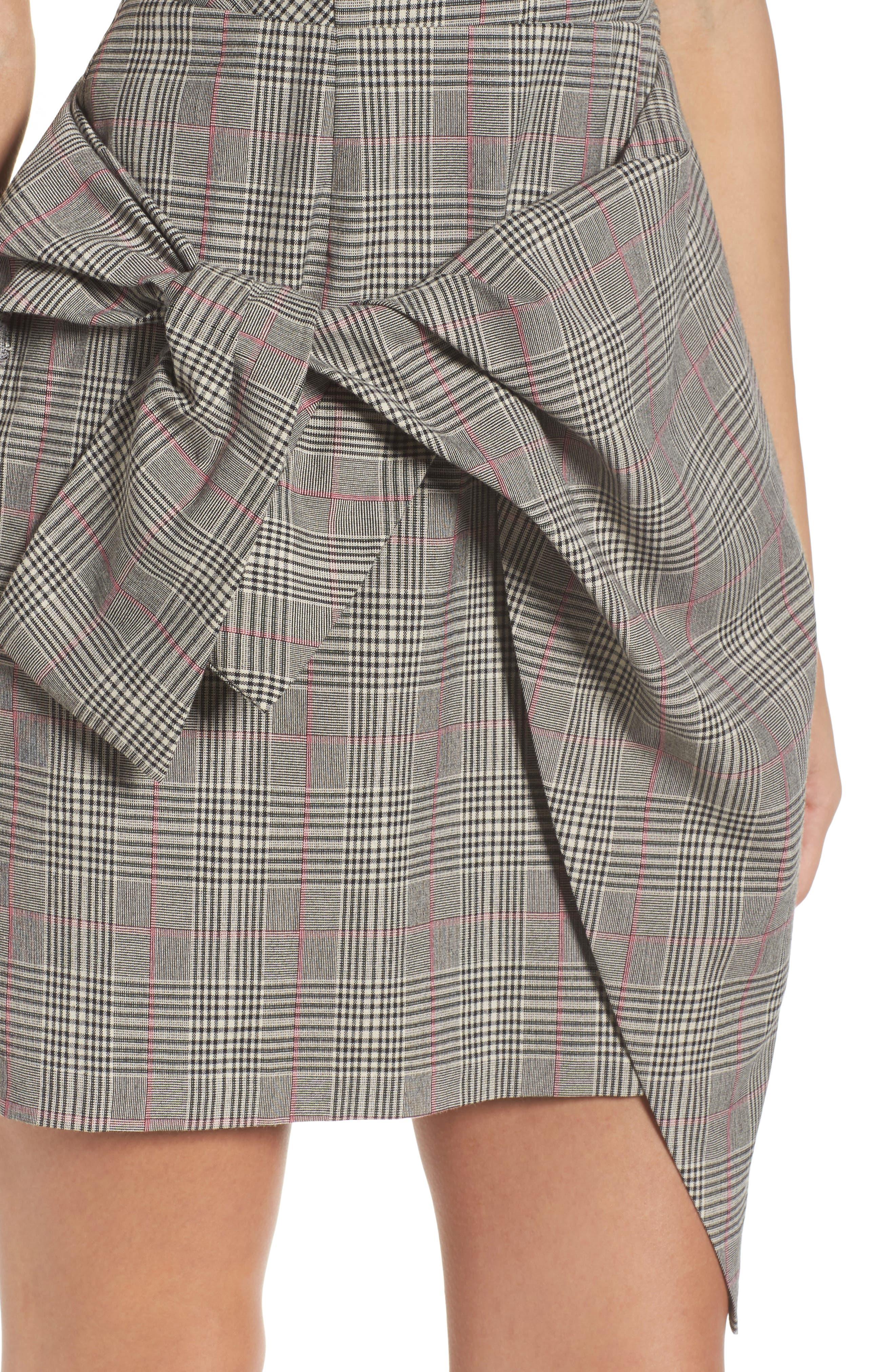 Aurora Plaid Tie Sheath,                             Alternate thumbnail 4, color,                             Black/ Grey/ Red