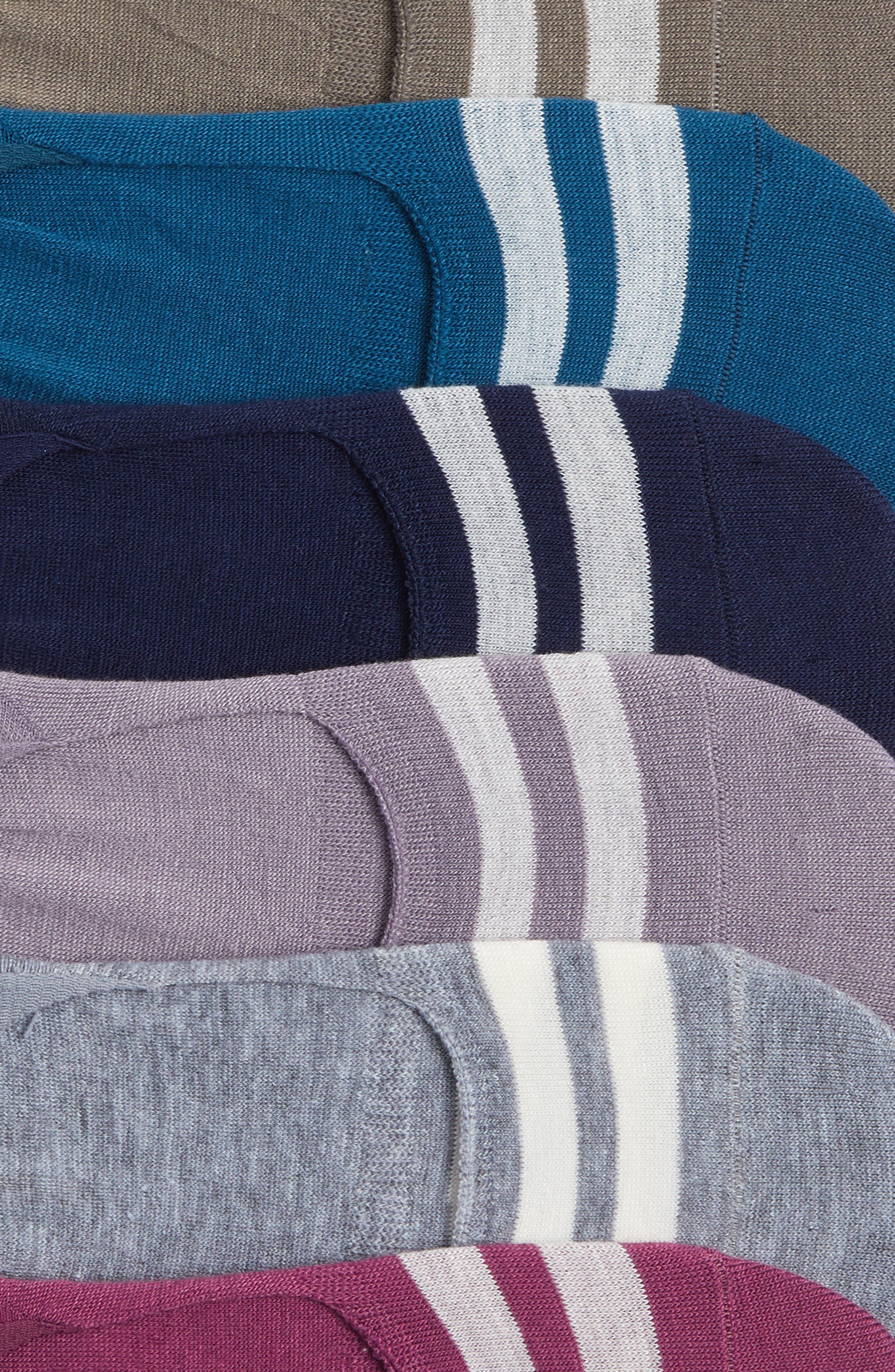 Varsity Stripe No-Show Socks,                             Alternate thumbnail 2, color,                             Grey Assorted