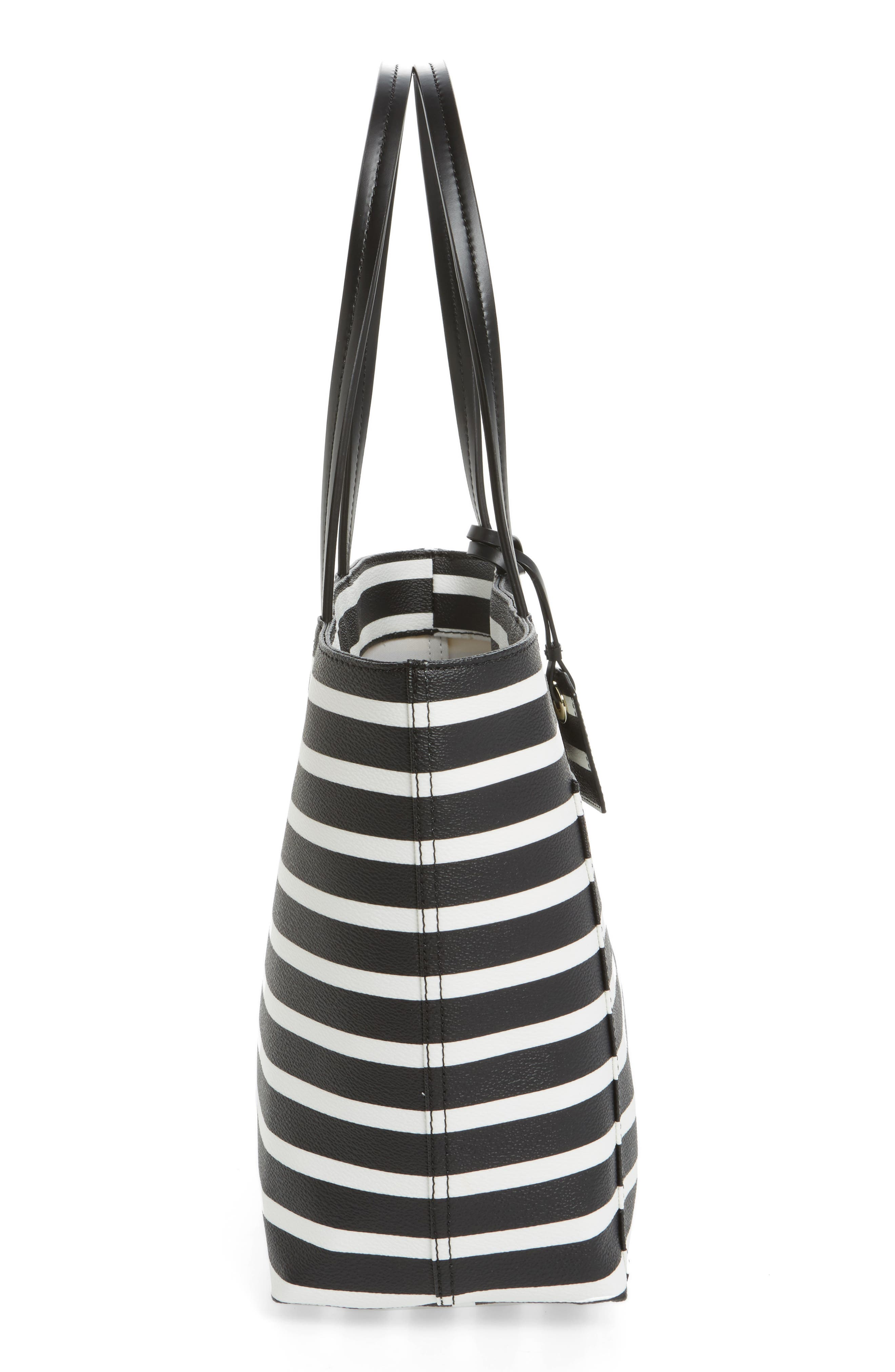 hyde lane - small riley faux leather tote,                             Alternate thumbnail 3, color,                             Black/ Off White