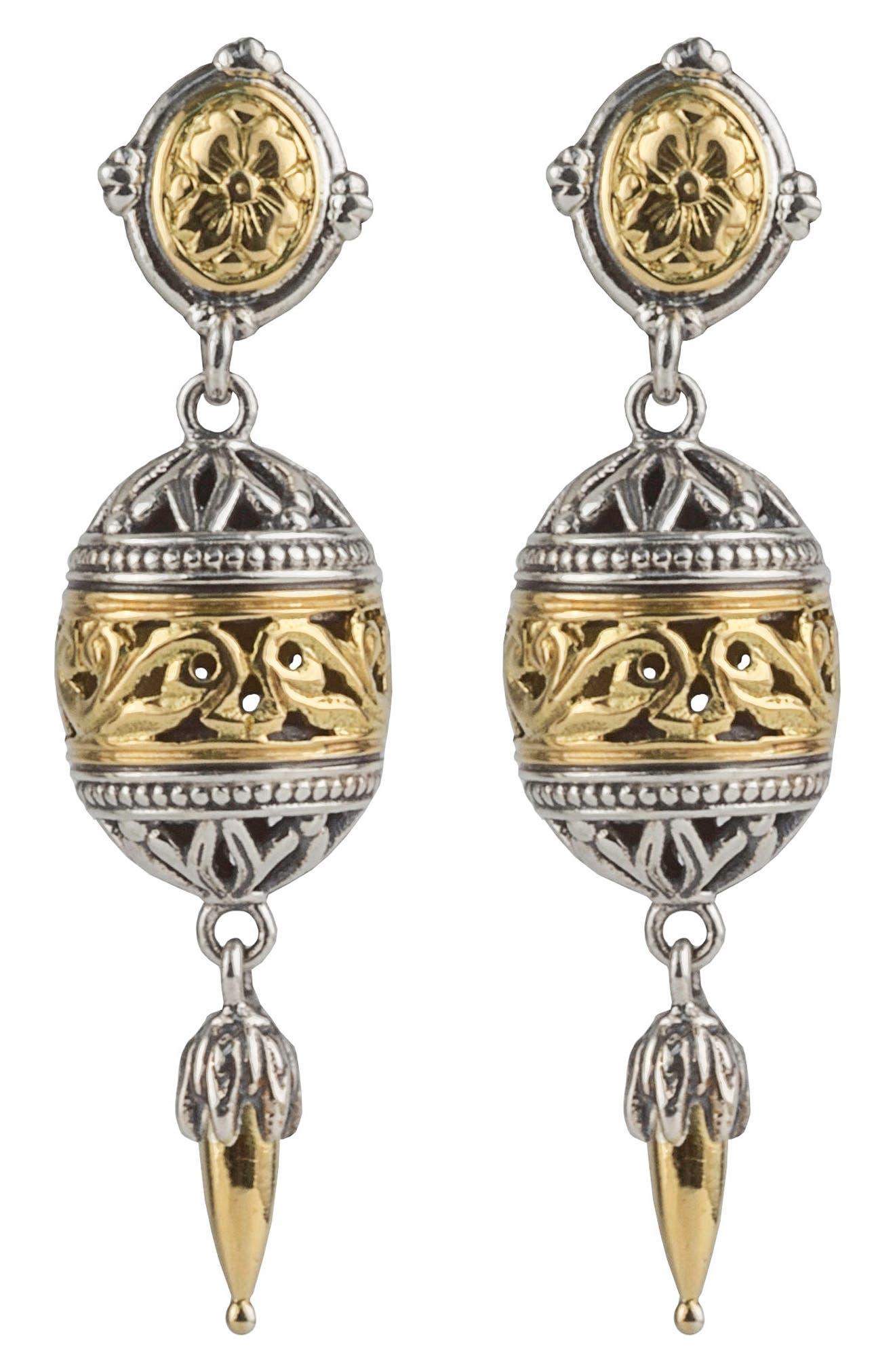Gaia Filligree Drop Earrings,                             Main thumbnail 1, color,                             Silver/ Gold