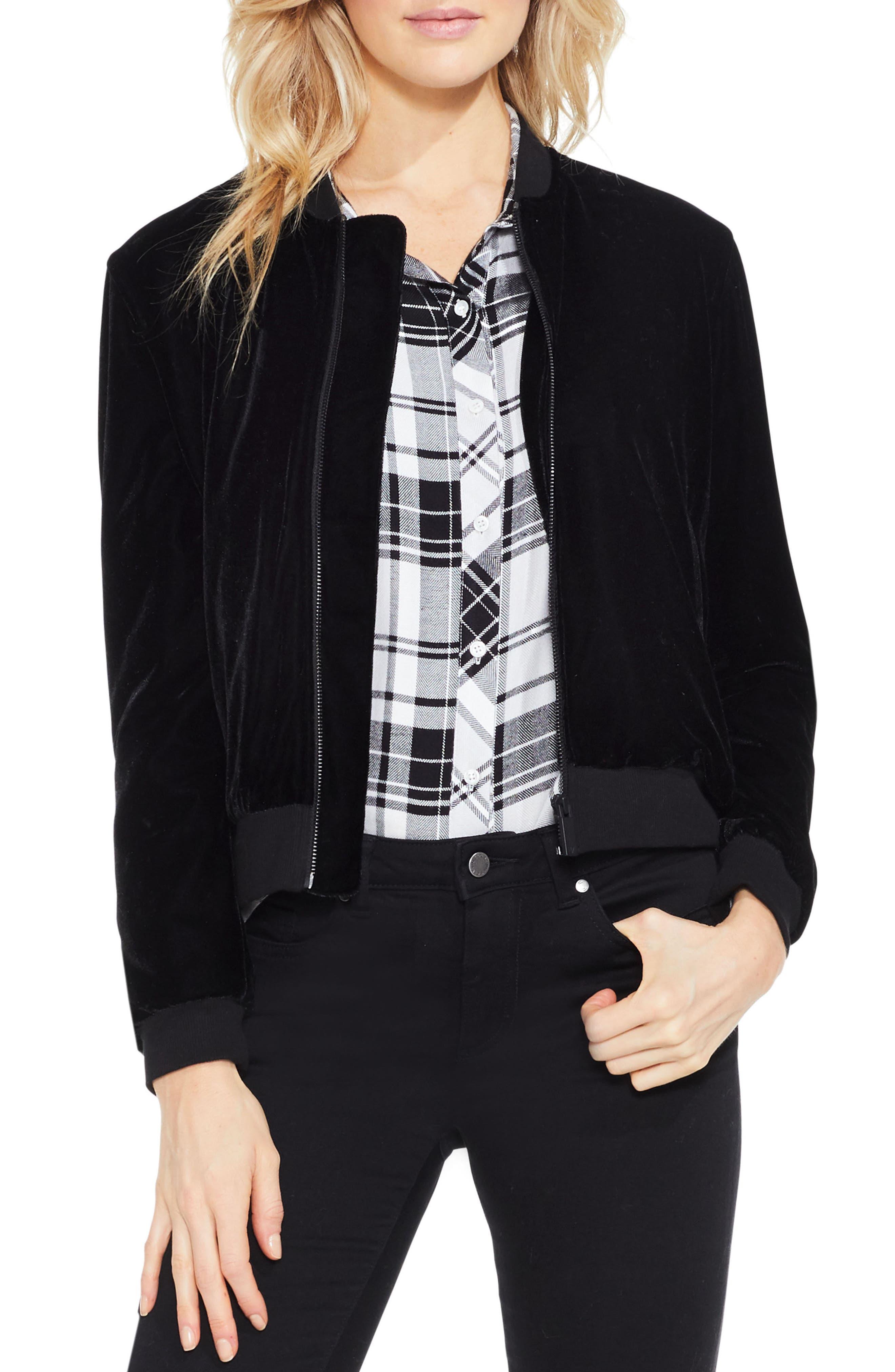 Velvet Bomber Jacket,                         Main,                         color, Rich Black