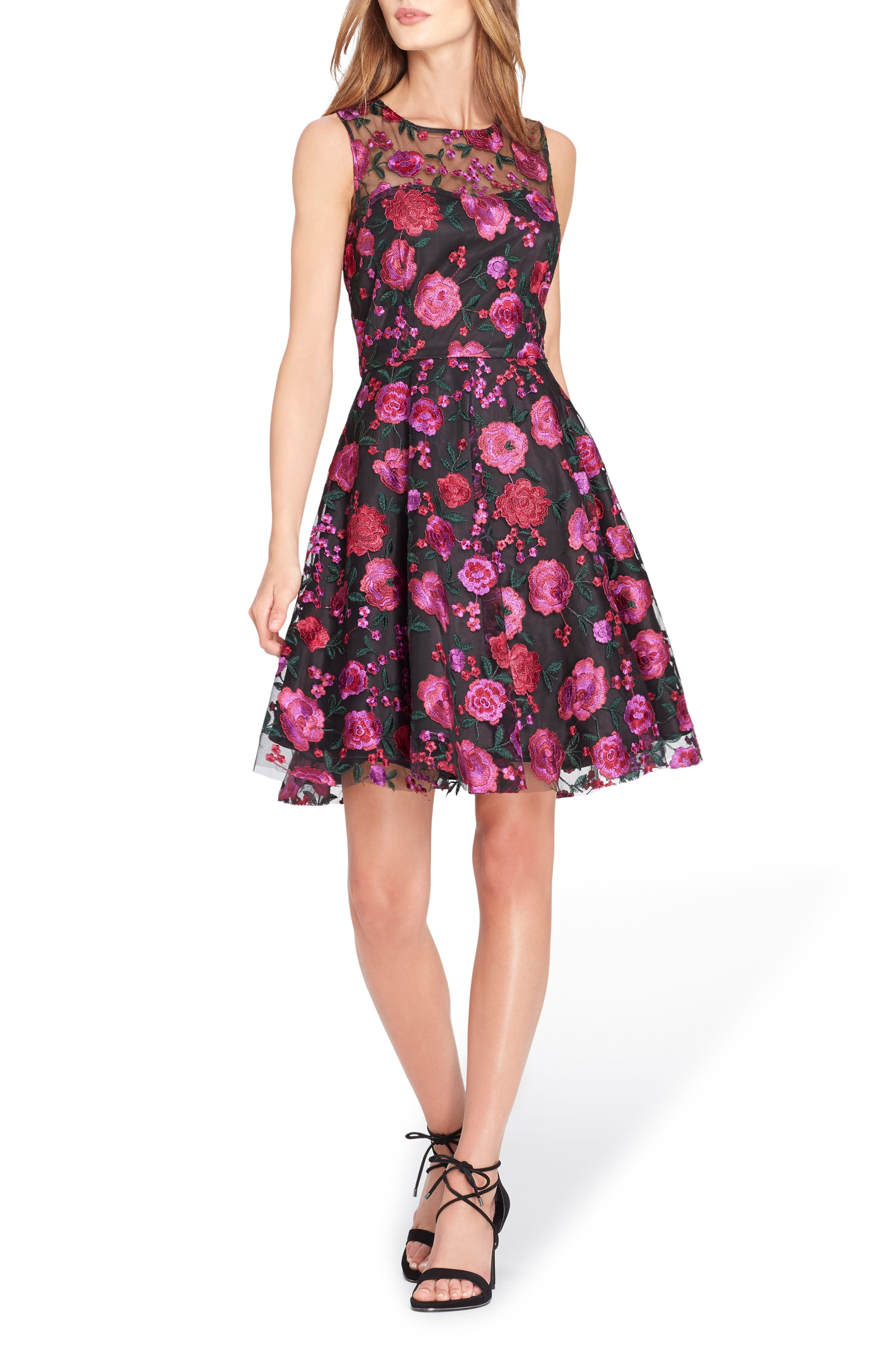 Embroidered Fit & Flare Dress,                         Main,                         color, Black/ Magenta/ Green