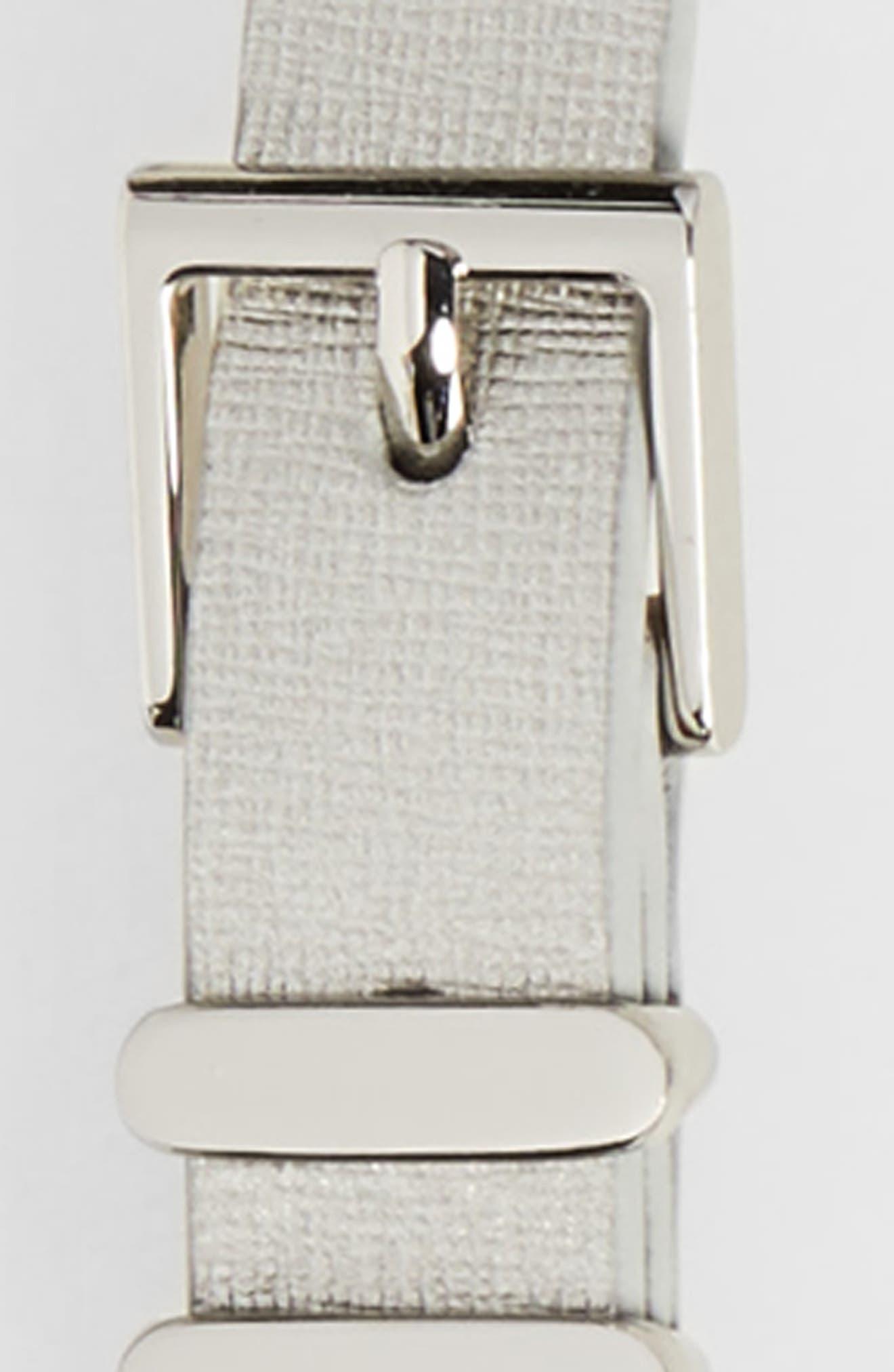 Metallic Saffiano Leather Belt,                             Alternate thumbnail 2, color,                             Silver