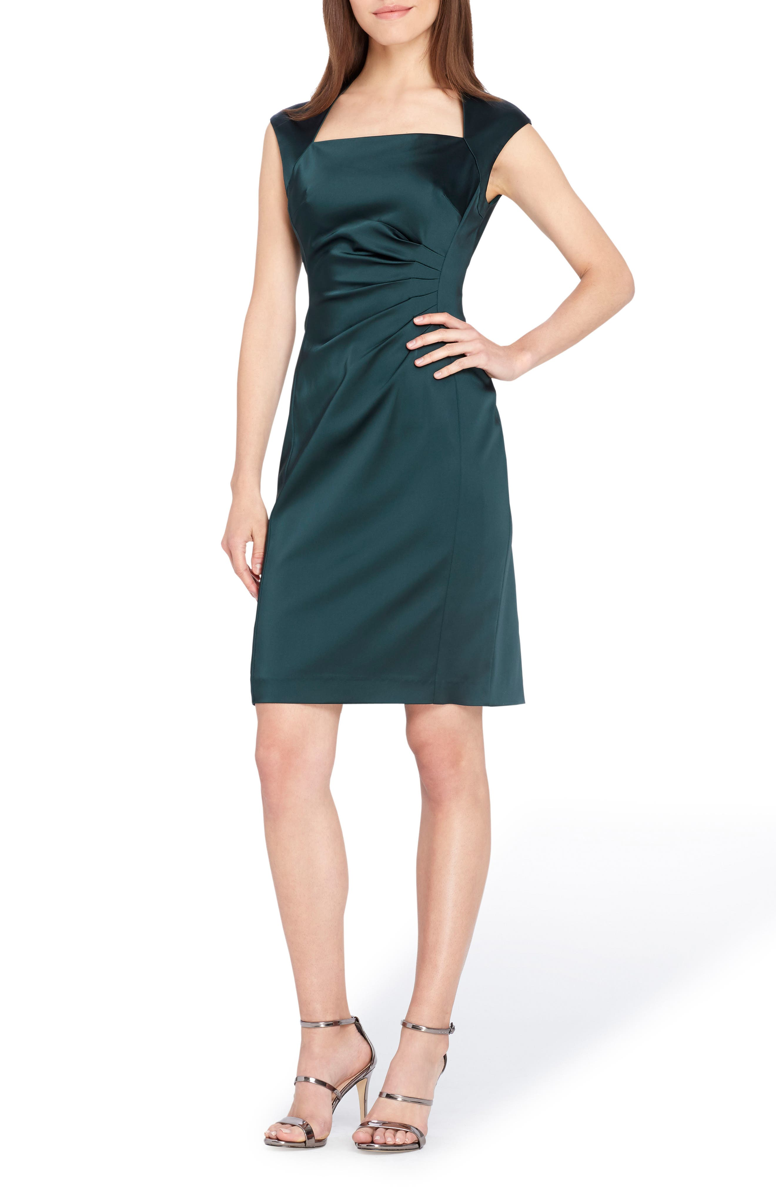 Stretch Satin Sheath Dress,                         Main,                         color, Forest Green