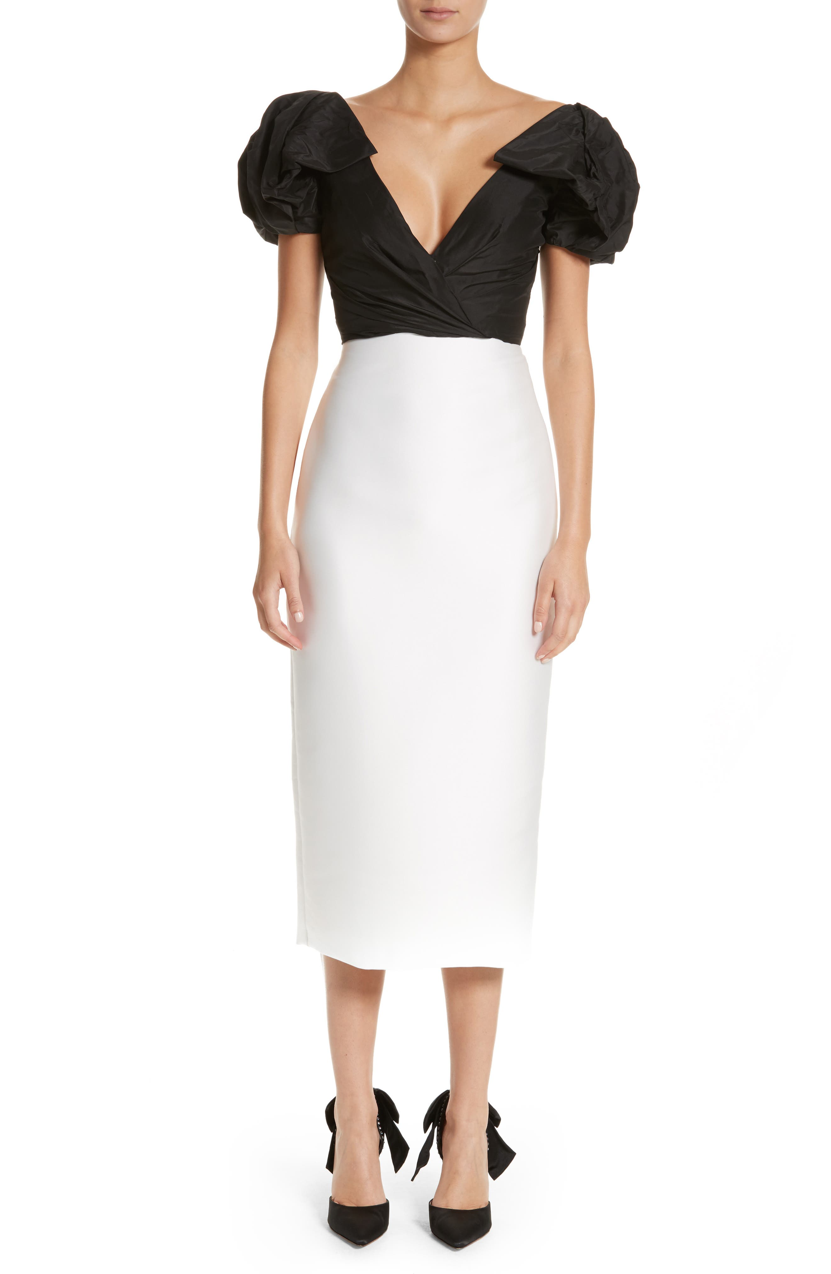 Monique Lhuillier Puff Sleeve Mikado Sheath Dress