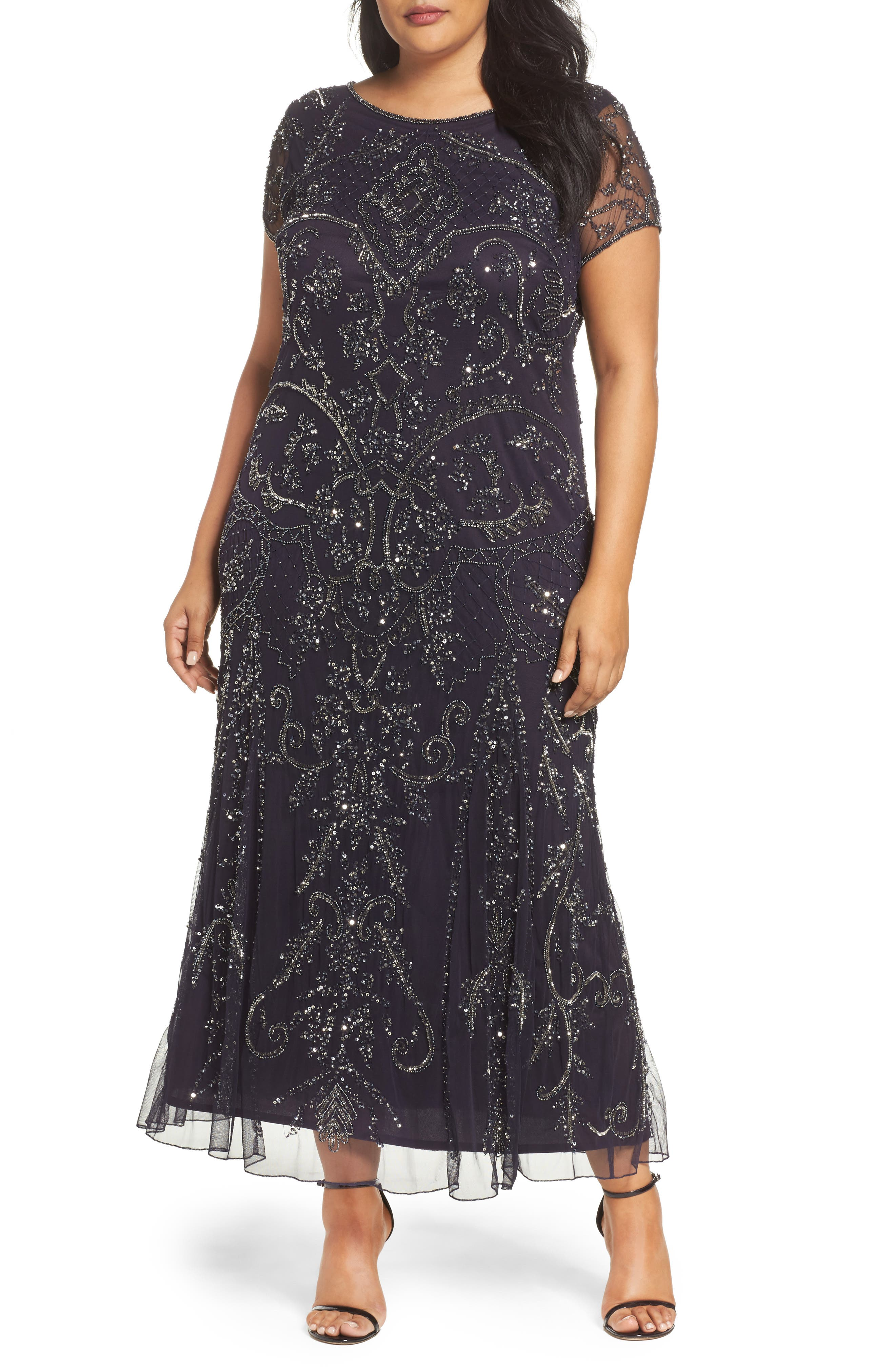 Pisarro Nights Beaded Short Sleeve Column Gown (Plus Size)