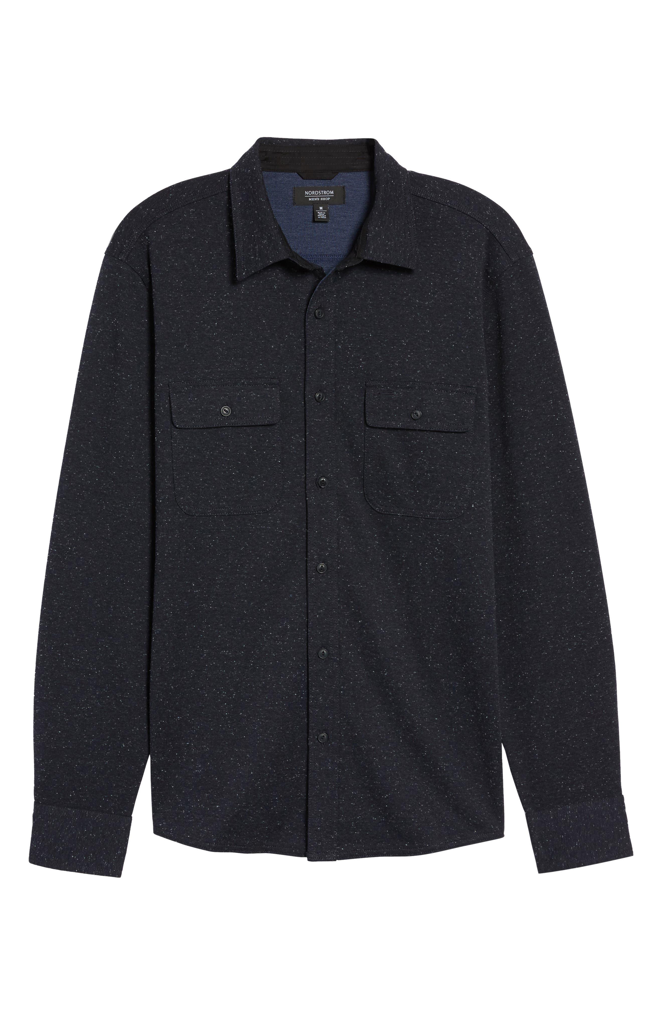 Knit Sport Shirt,                             Alternate thumbnail 6, color,                             Navy Iris Nep