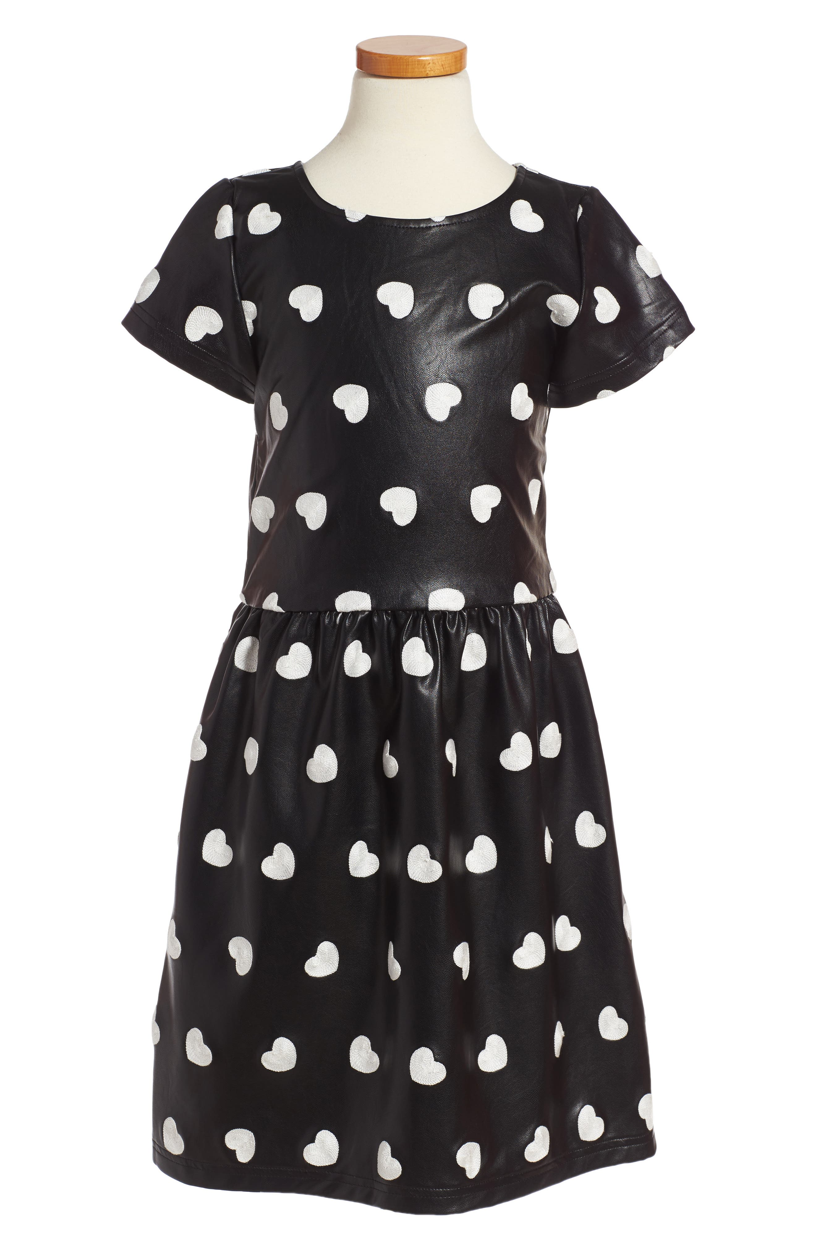 Kelsey Embroidered Heart Dress,                         Main,                         color, Black Hearts