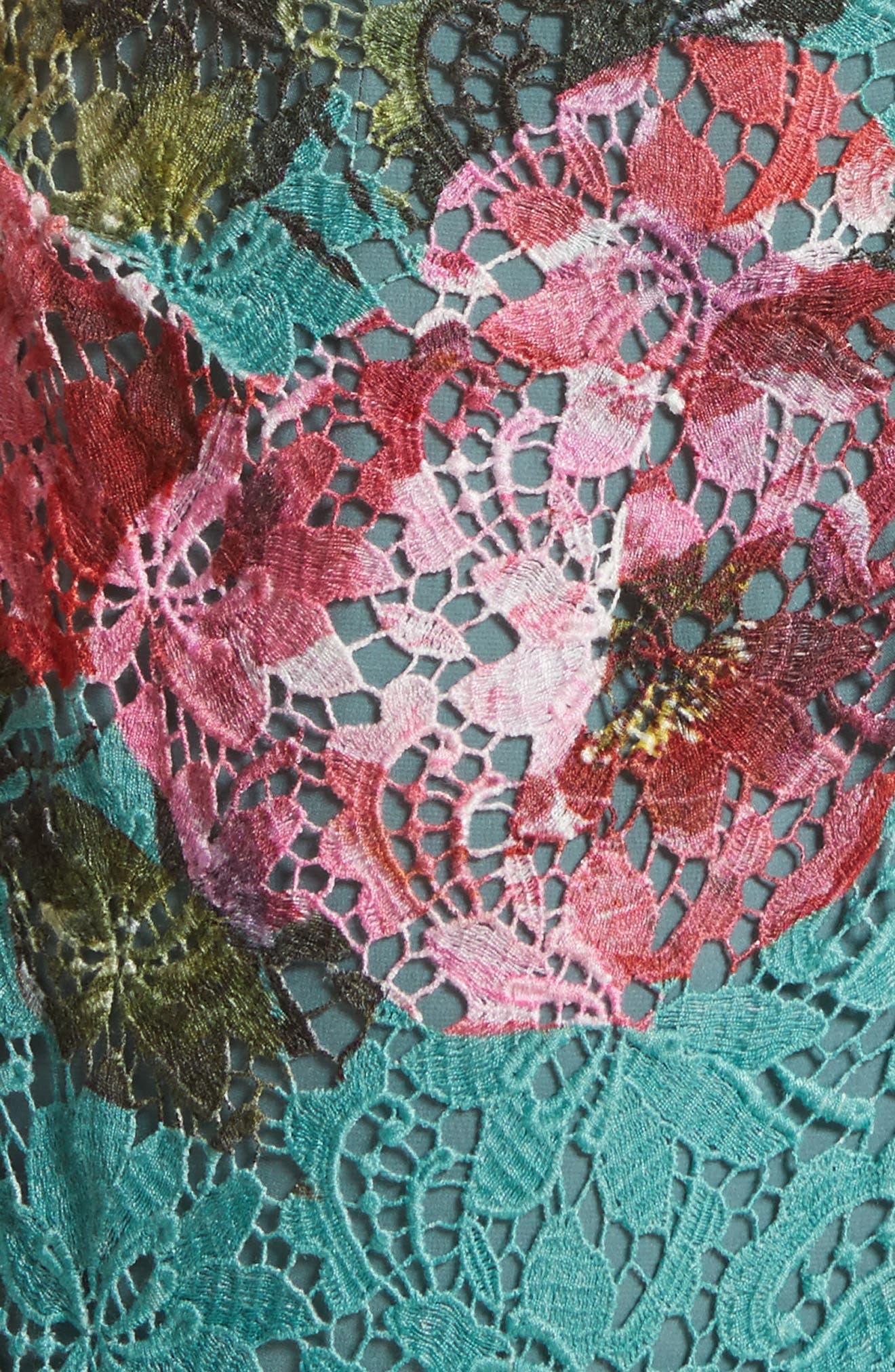 Alternate Image 6  - Monique Lhuillier Rose Print Guipure Sheath Dress