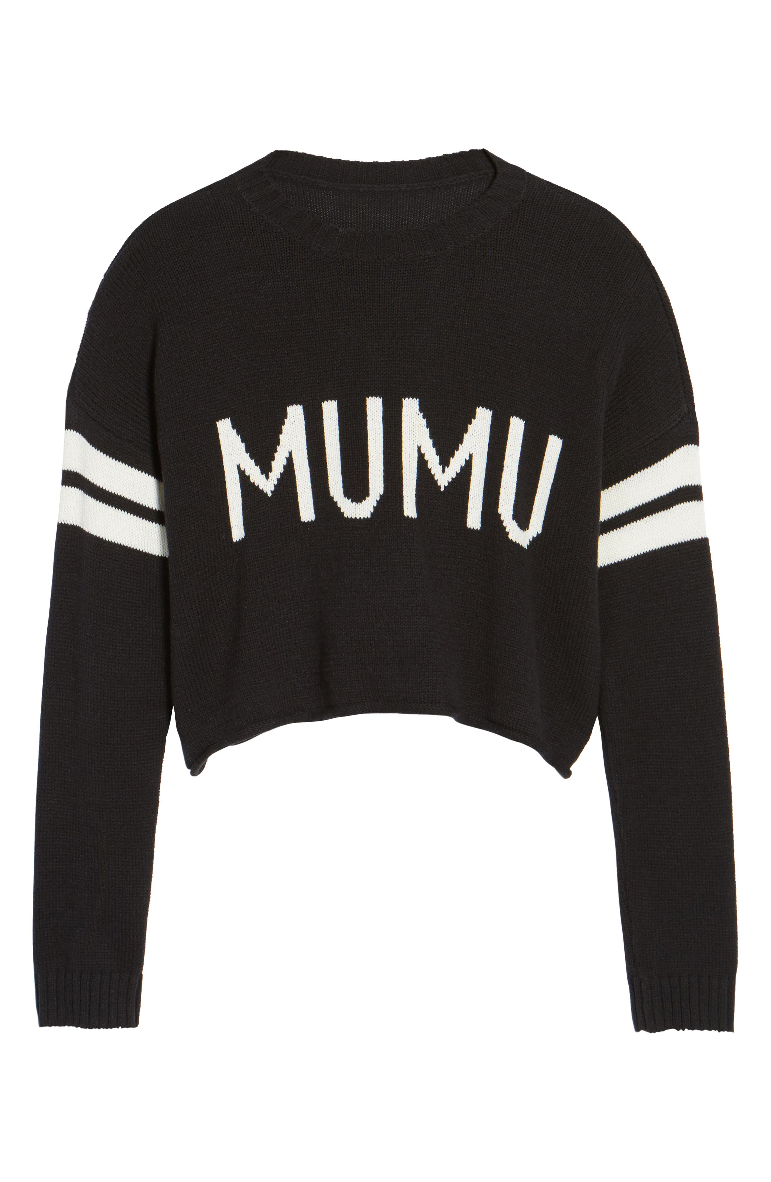 Crop Varsity Sweater,                             Alternate thumbnail 6, color,                             Mumu Stripe Black