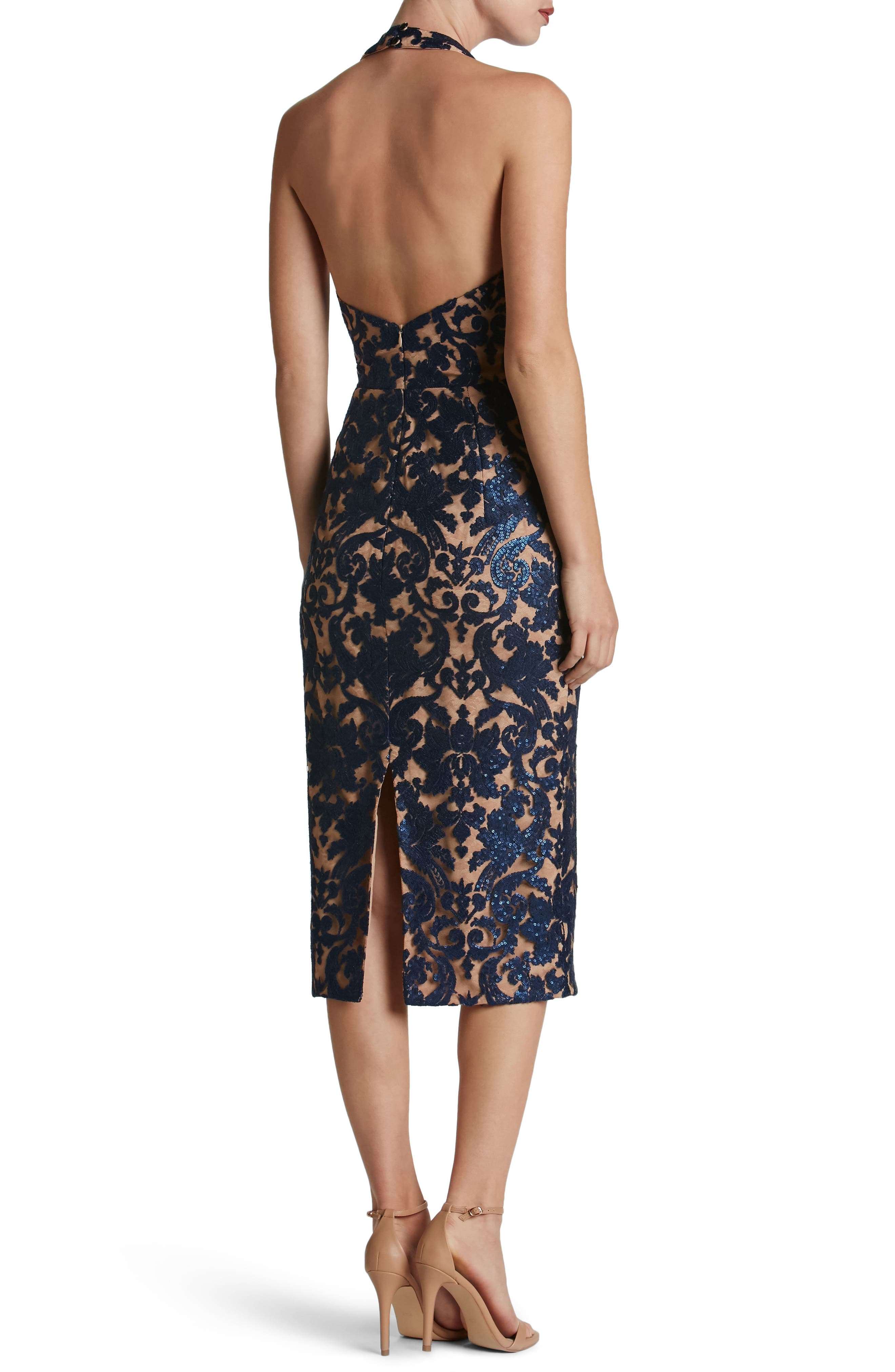 Cassie Sequin Midi Dress,                             Alternate thumbnail 2, color,                             Navy/ Nude