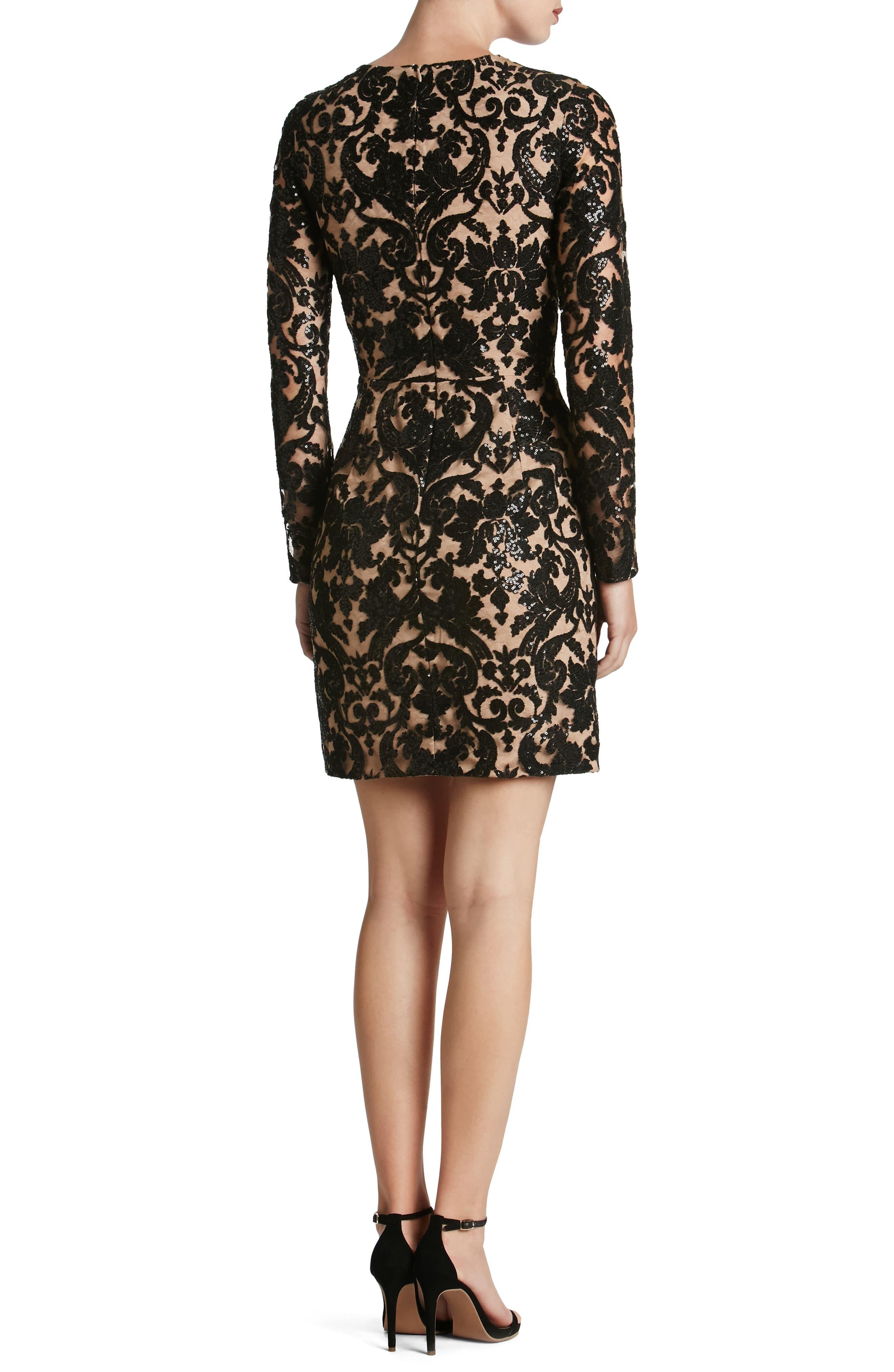 Alternate Image 3  - Dress the Population Claudia Plunging Illusion Sequin Lace Minidress (Nordstrom Exclusive)