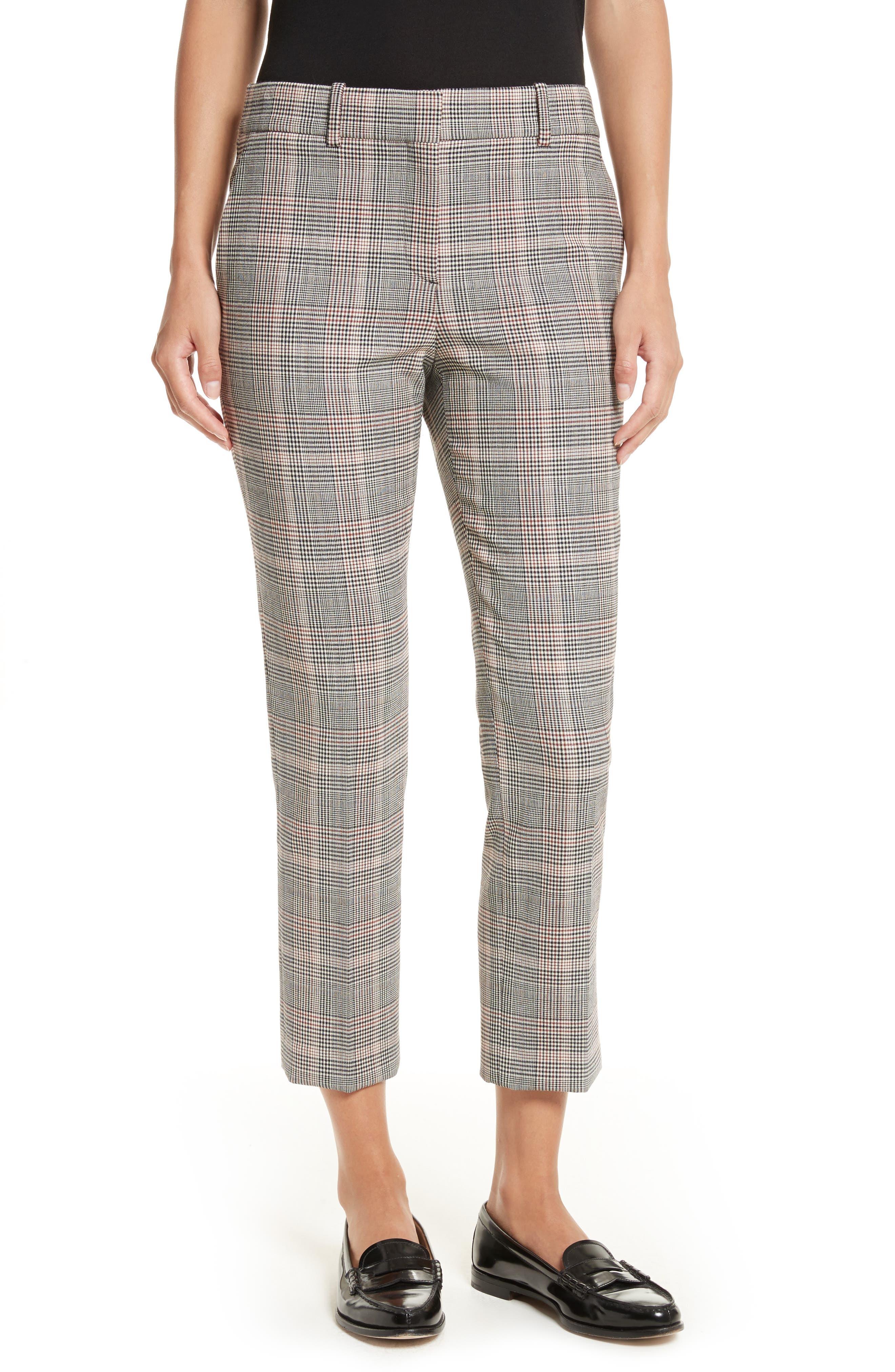 Theory Treeca 2 Plaid Crop Trousers