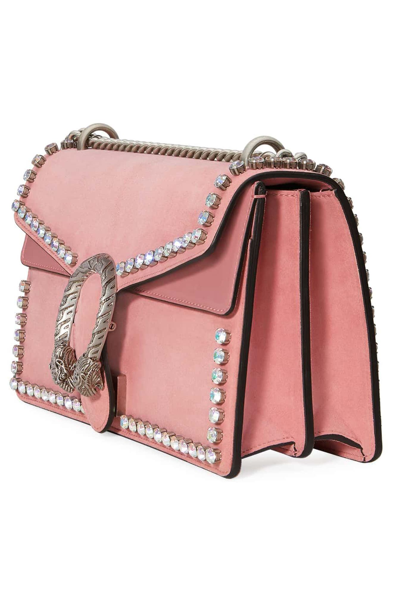 Small Dionysus Crystal Embellished Suede Shoulder Bag,                             Alternate thumbnail 4, color,                             Pink