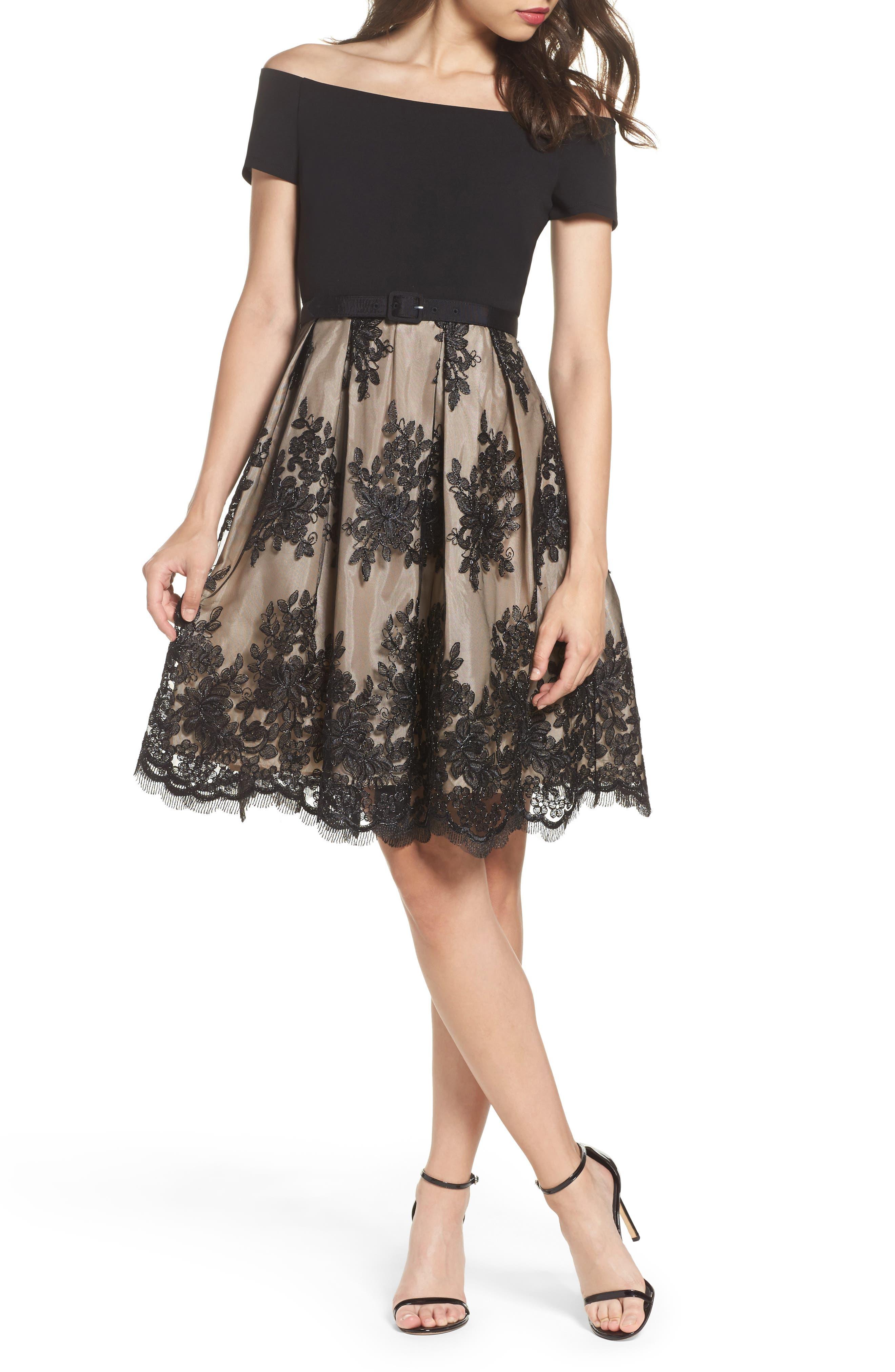 Off the Shoulder Lace Dress,                         Main,                         color, Black/ Champagne
