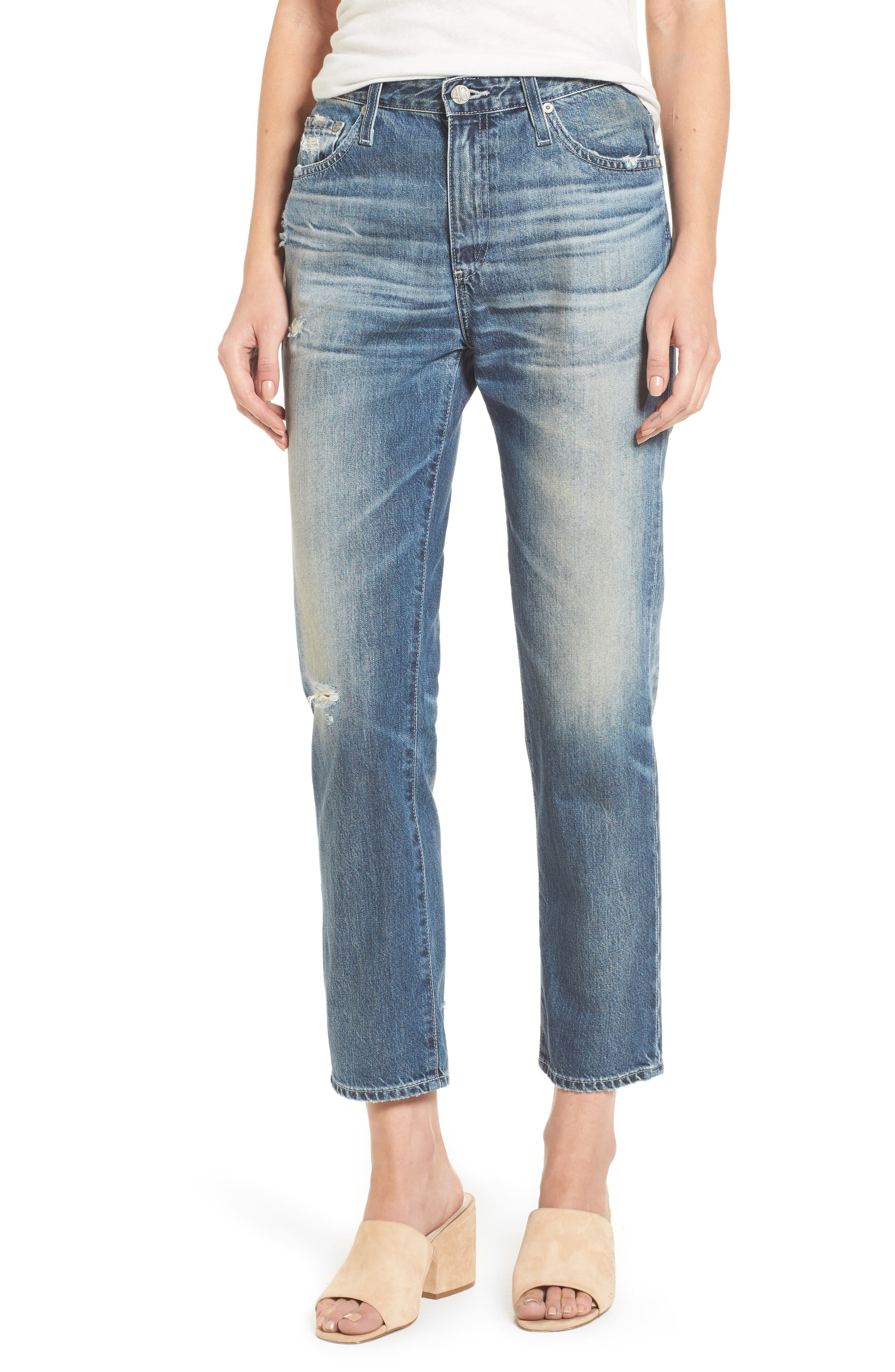 Isabelle High Waist Straight Leg Crop Jeans,                         Main,                         color, 23 Years Wind Worn