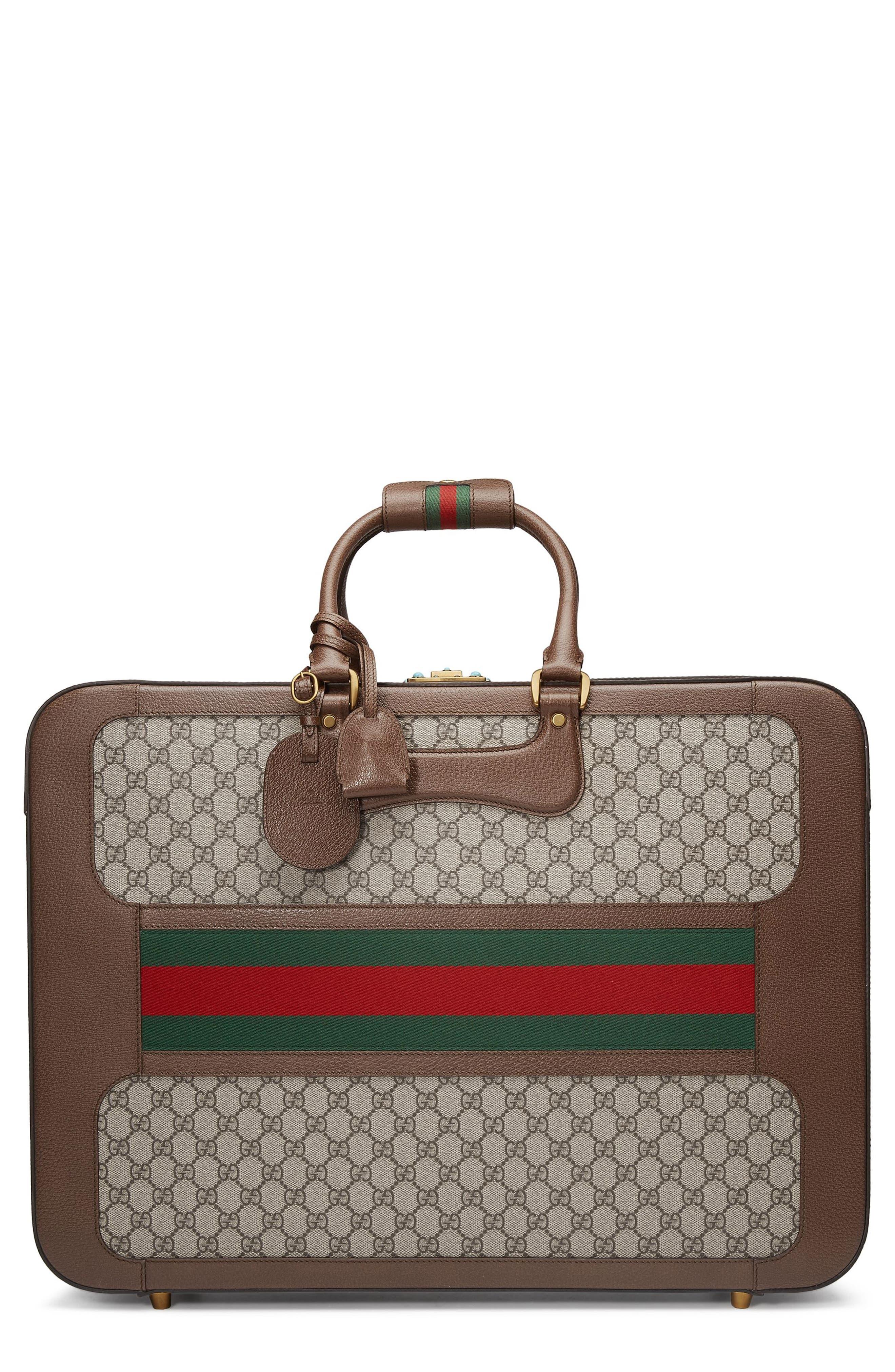 Large Echo GG Supreme Canvas & Leather Suitcase,                         Main,                         color, Beige/ Ebony