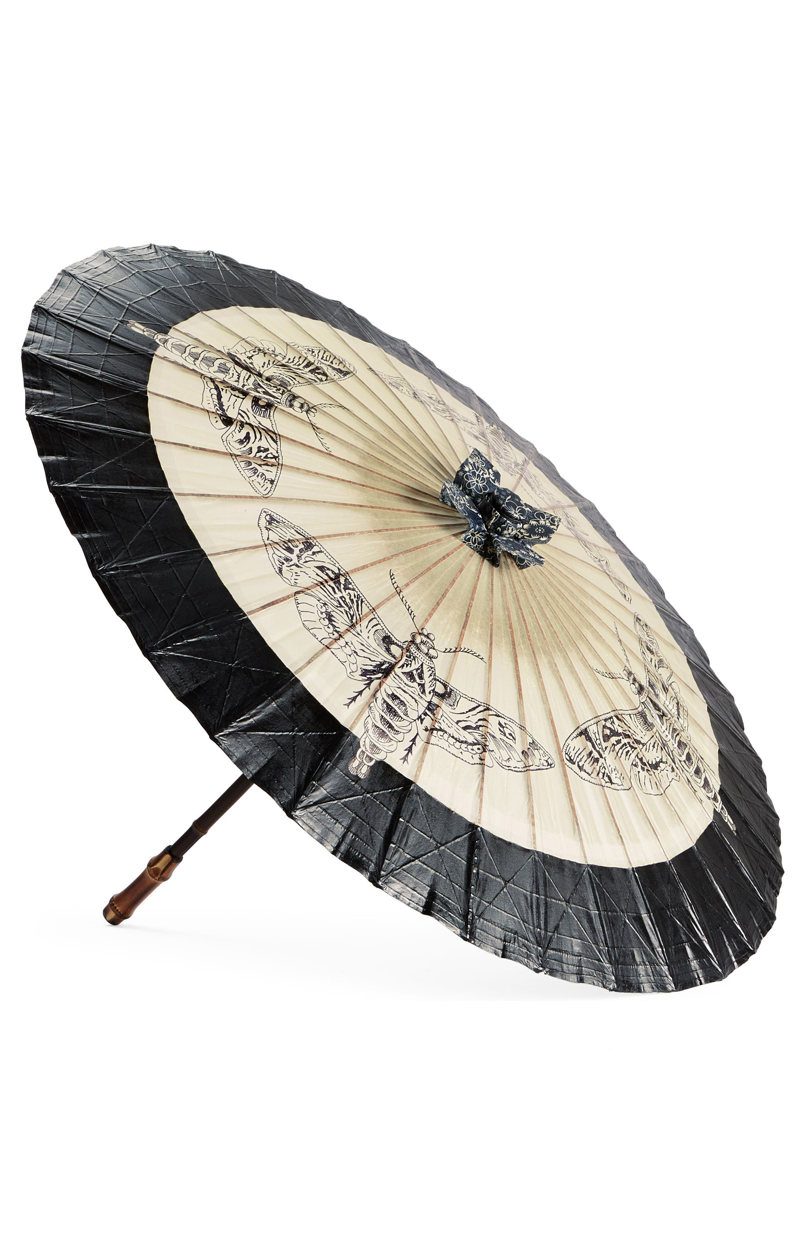 Insect Para Rosee Paper Parasol,                         Main,                         color, Black Multi