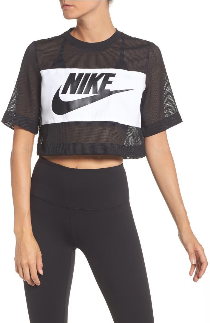 nike sportswear mesh crop top nordstrom. Black Bedroom Furniture Sets. Home Design Ideas