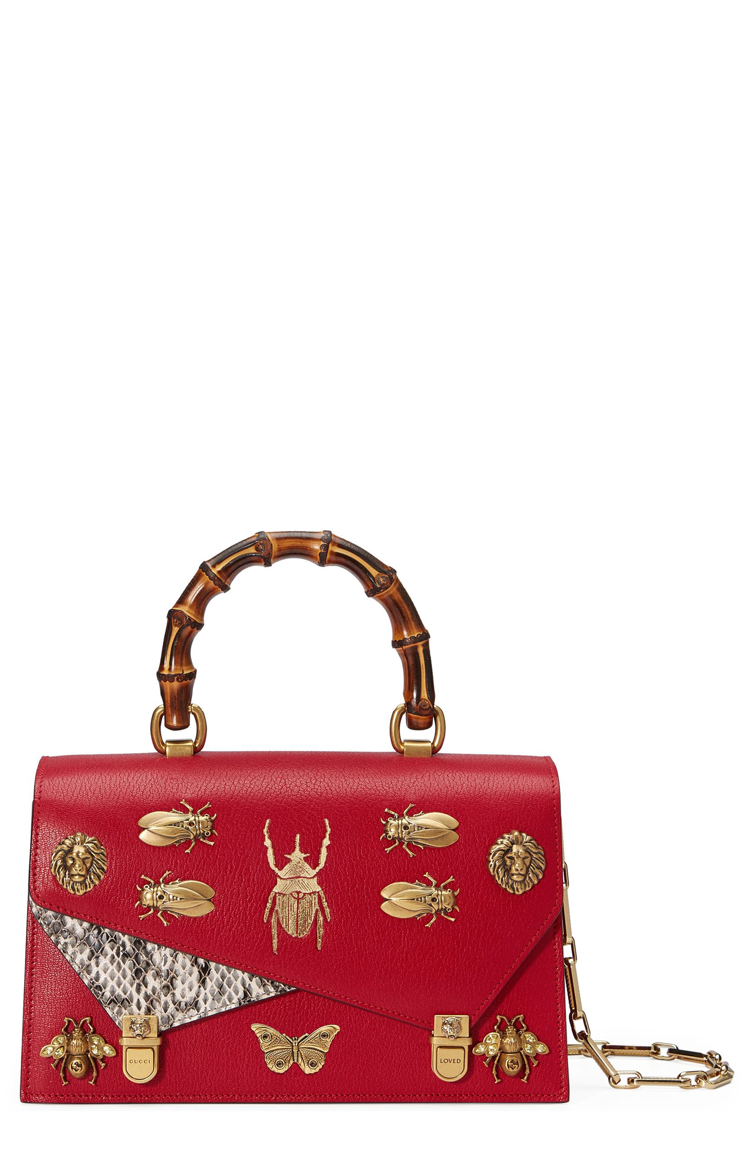 Small Linea P Painted Insects Leather Top Handle Satchel,                         Main,                         color, Rosso