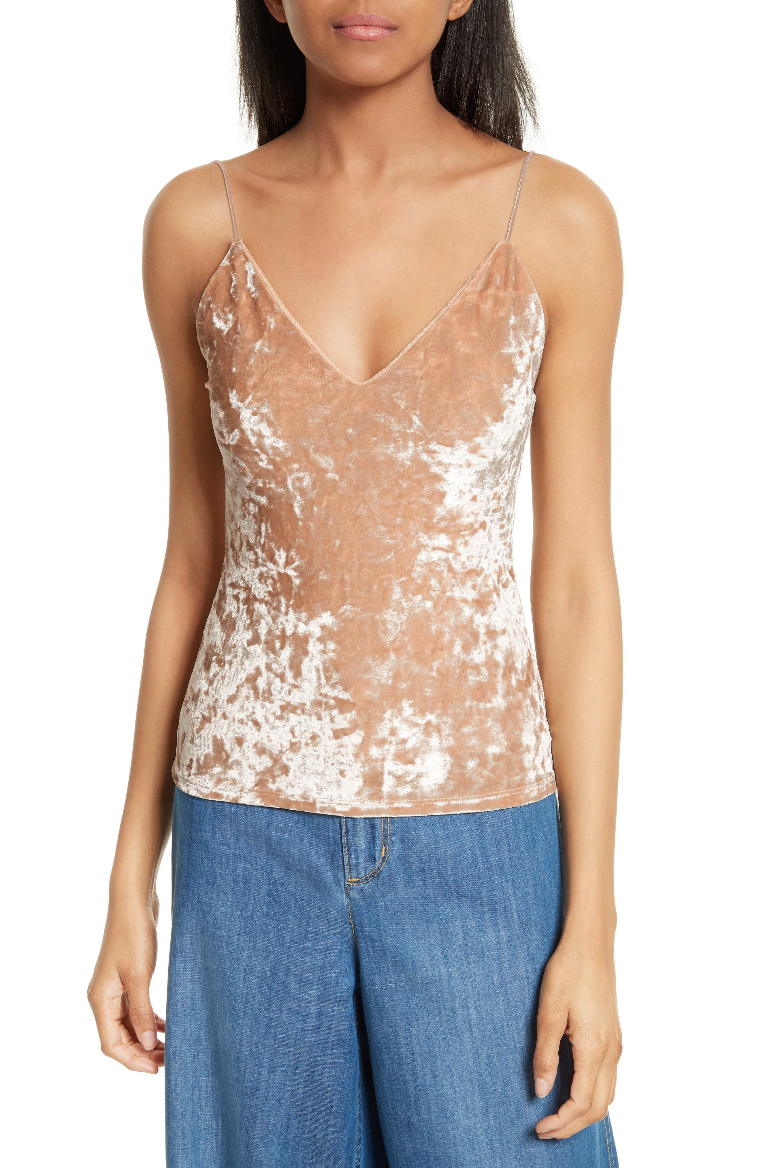 Delray Crushed Velvet Camisole,                             Main thumbnail 1, color,                             Natural