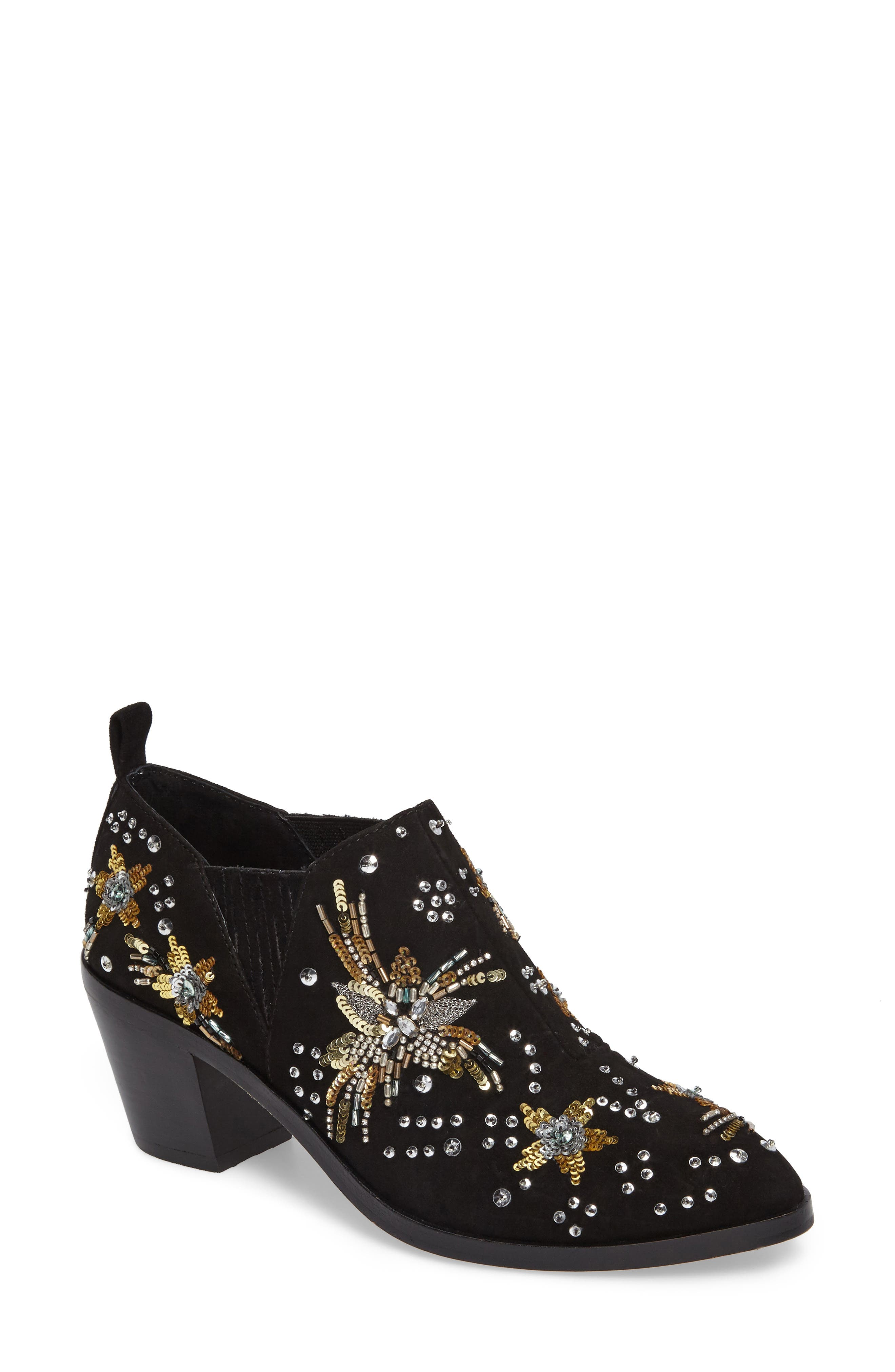 Lucy Embellished Bootie,                         Main,                         color, Black