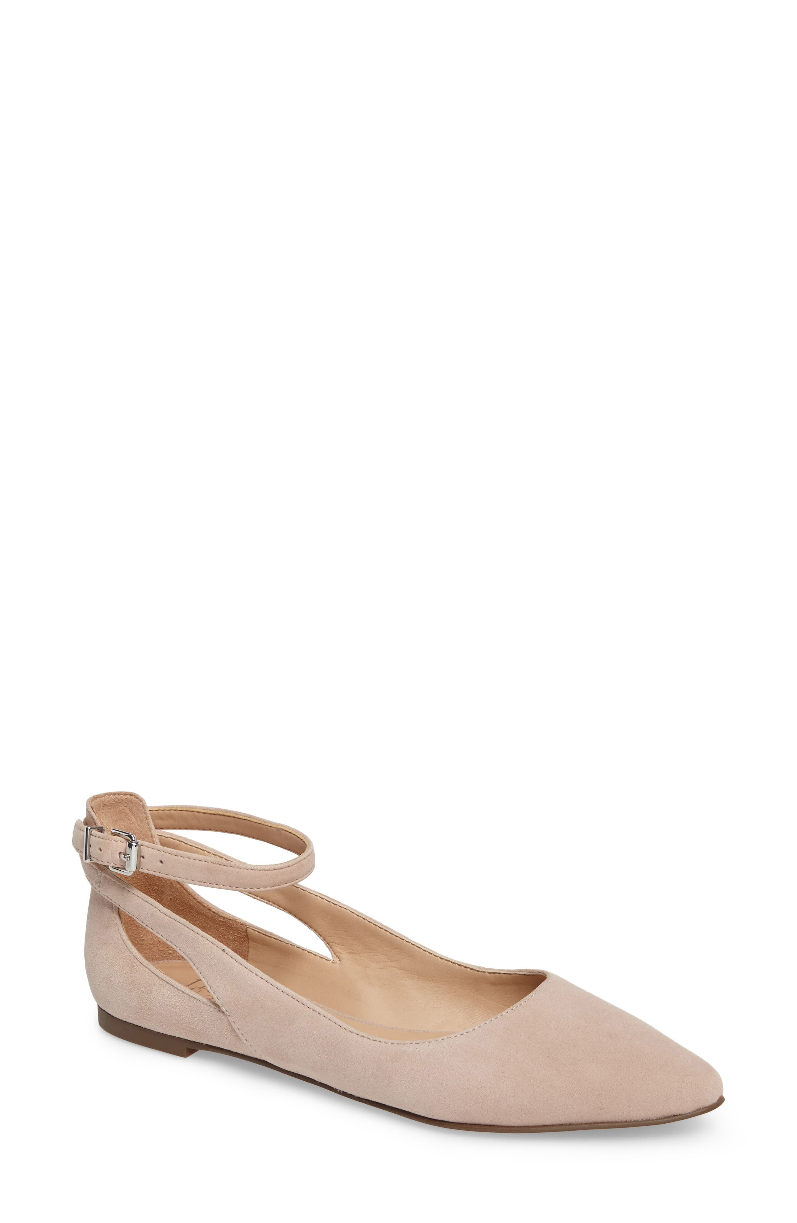 Sylvia Ankle Strap Flat,                             Main thumbnail 1, color,                             Victorian Rose Suede