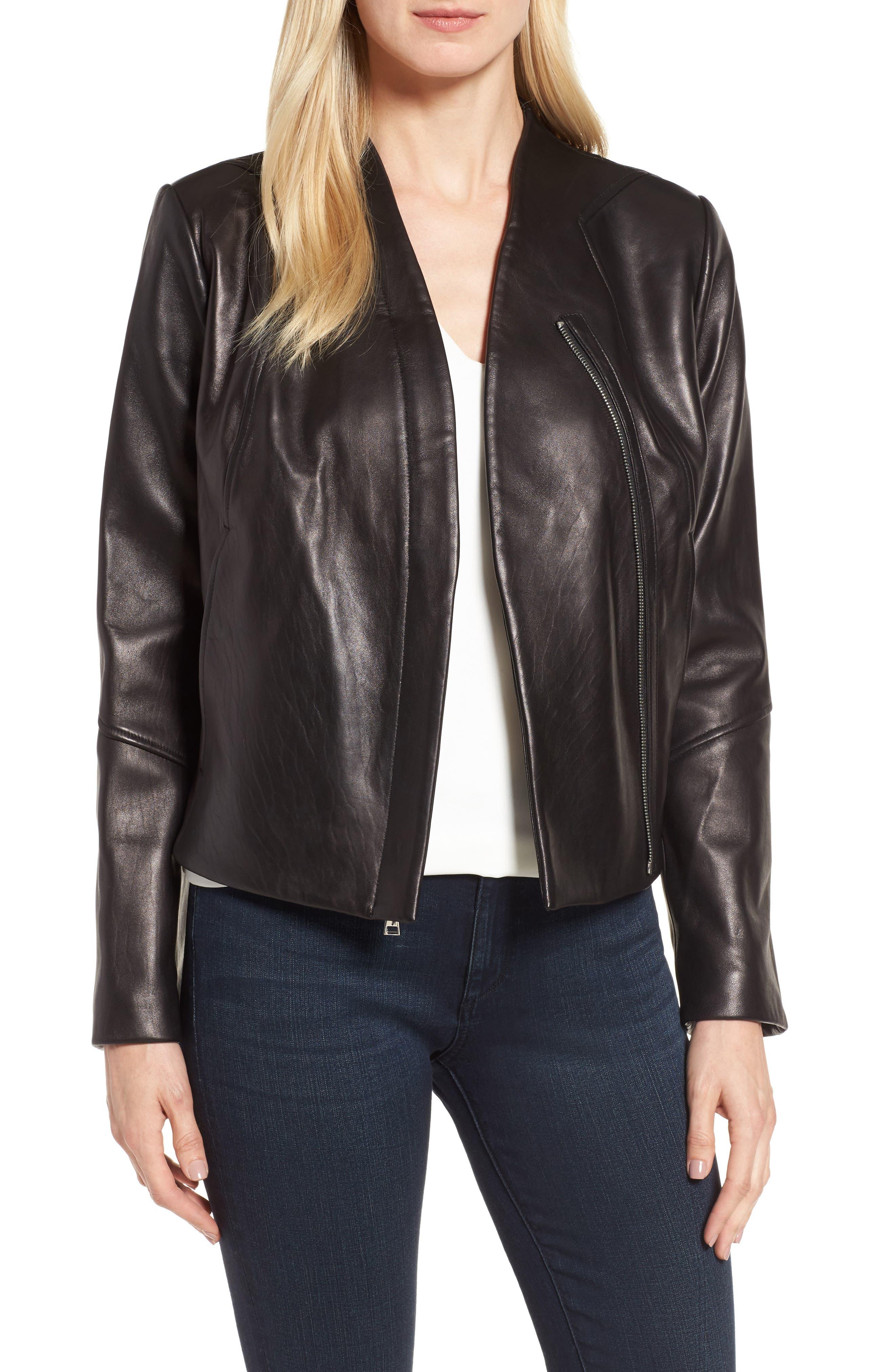 Seam Leather Jacket,                         Main,                         color, Black