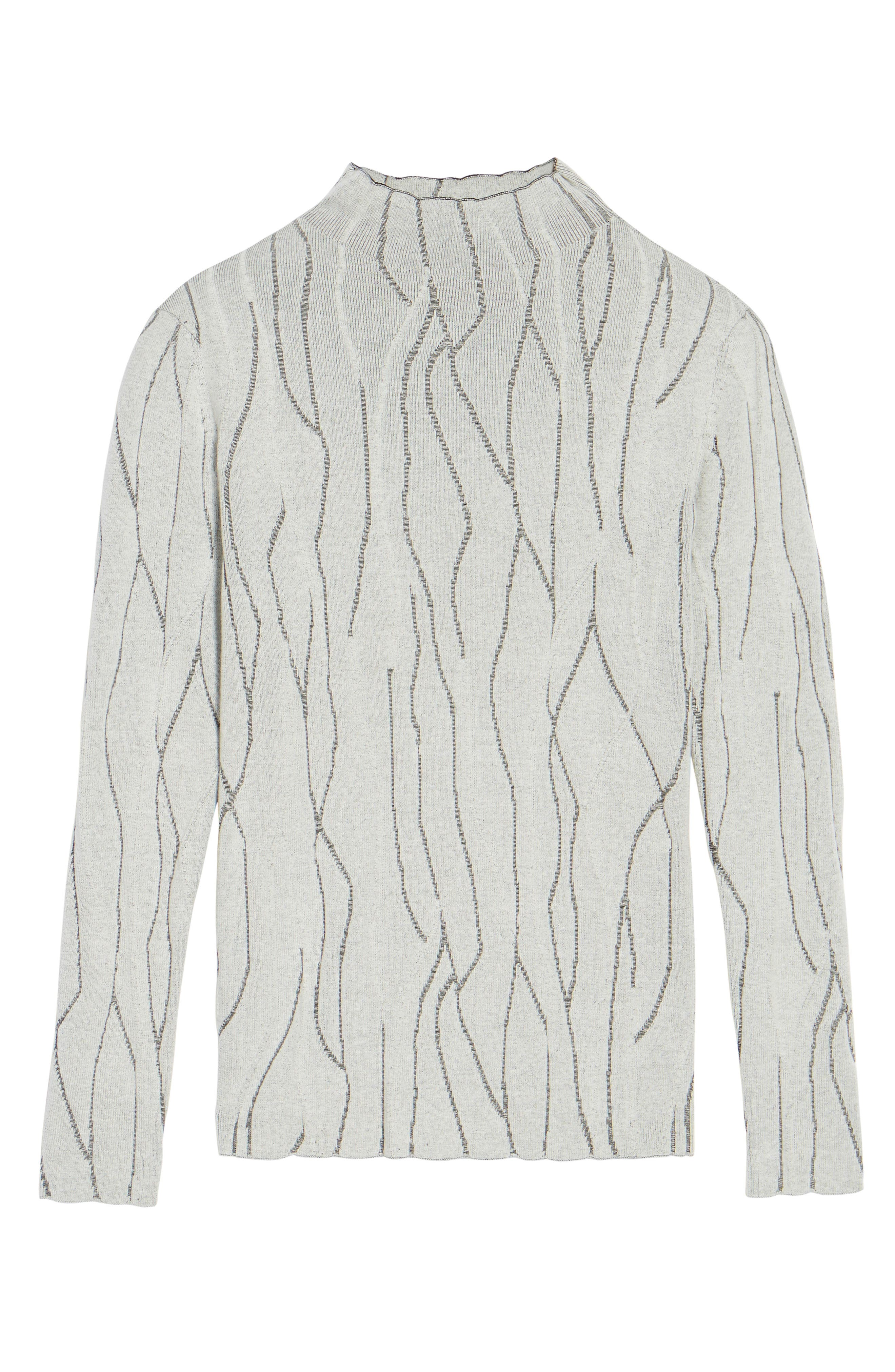 Artisanal Crackle Jacquard Sweater,                             Alternate thumbnail 6, color,                             Chalk