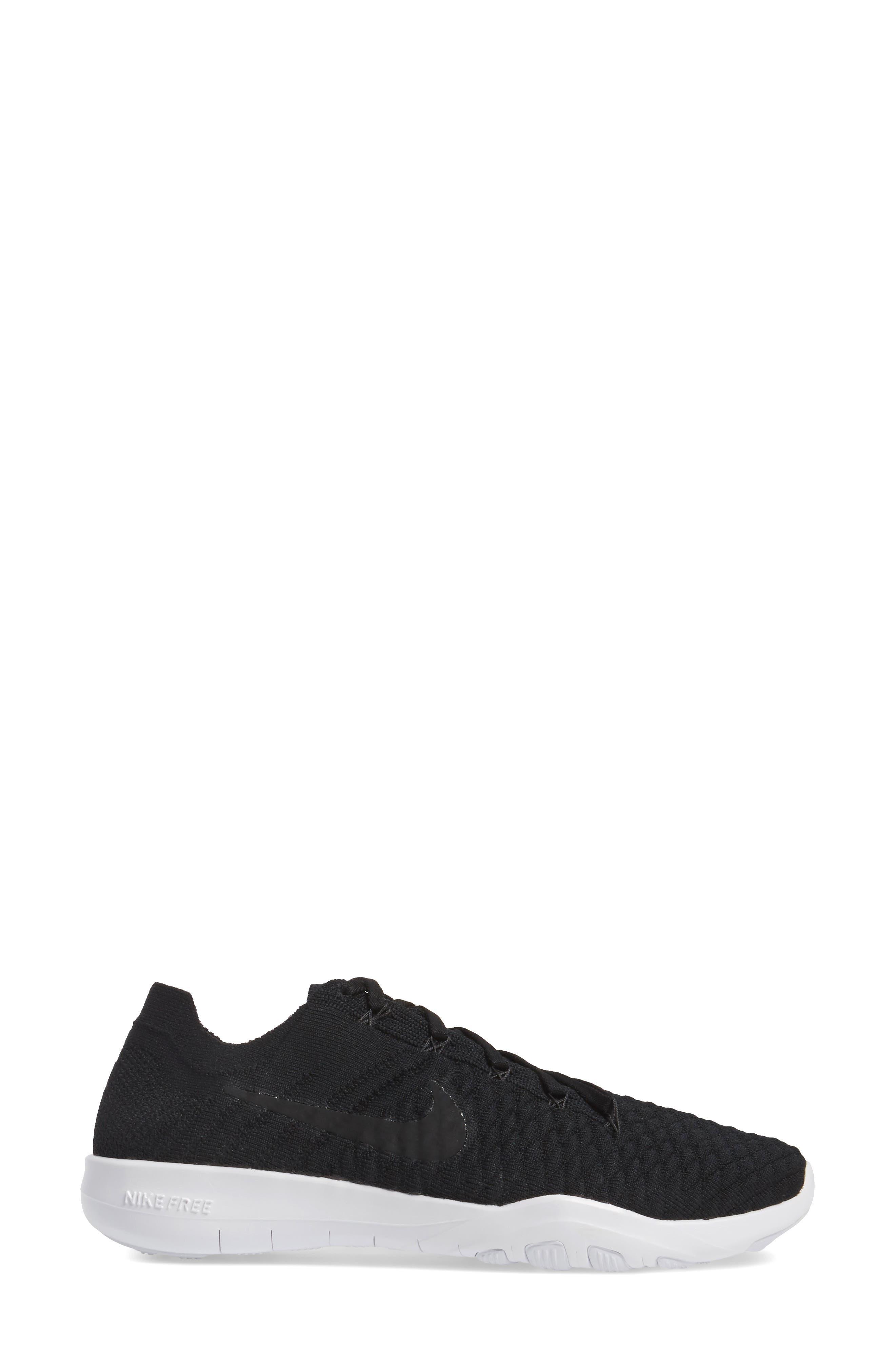 Free TR Flyknit 2 Training Shoe,                             Alternate thumbnail 3, color,                             Black/ Black/ White