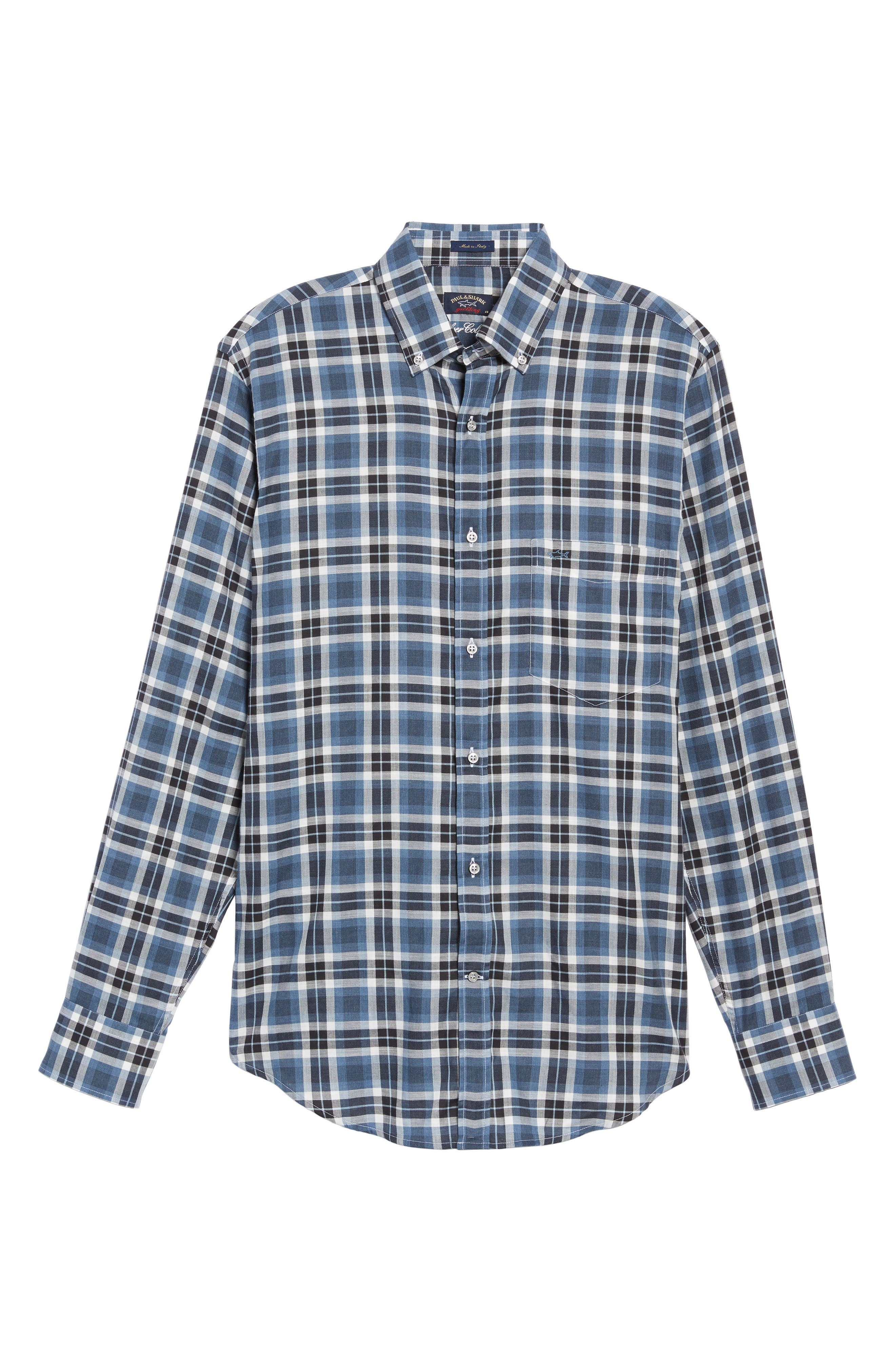 Paul&Shark Silver Collection Plaid Sport Shirt,                             Alternate thumbnail 6, color,                             Blue / Grey