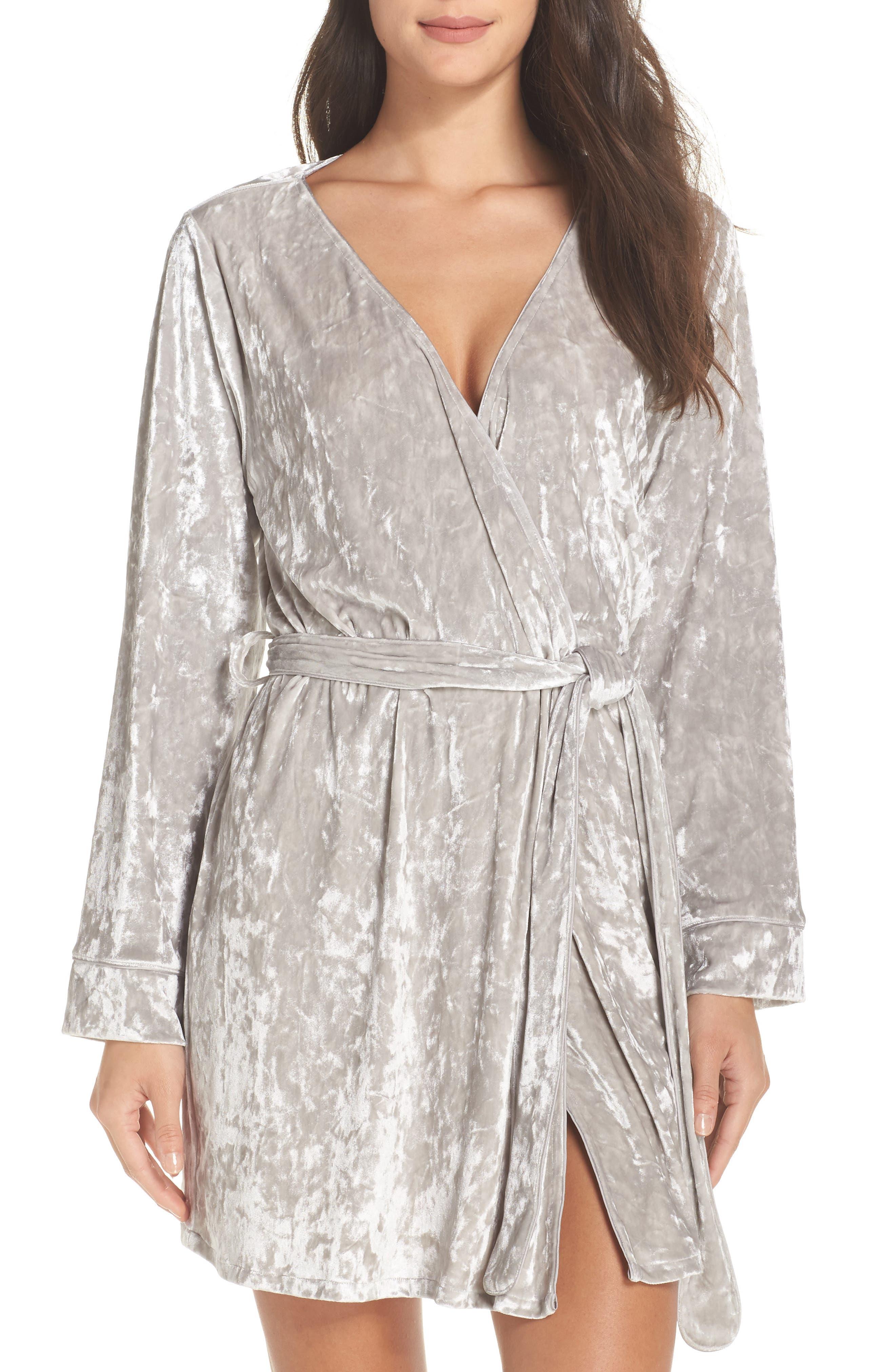Crushed Velvet Short Robe,                             Main thumbnail 1, color,                             Grey Vapor