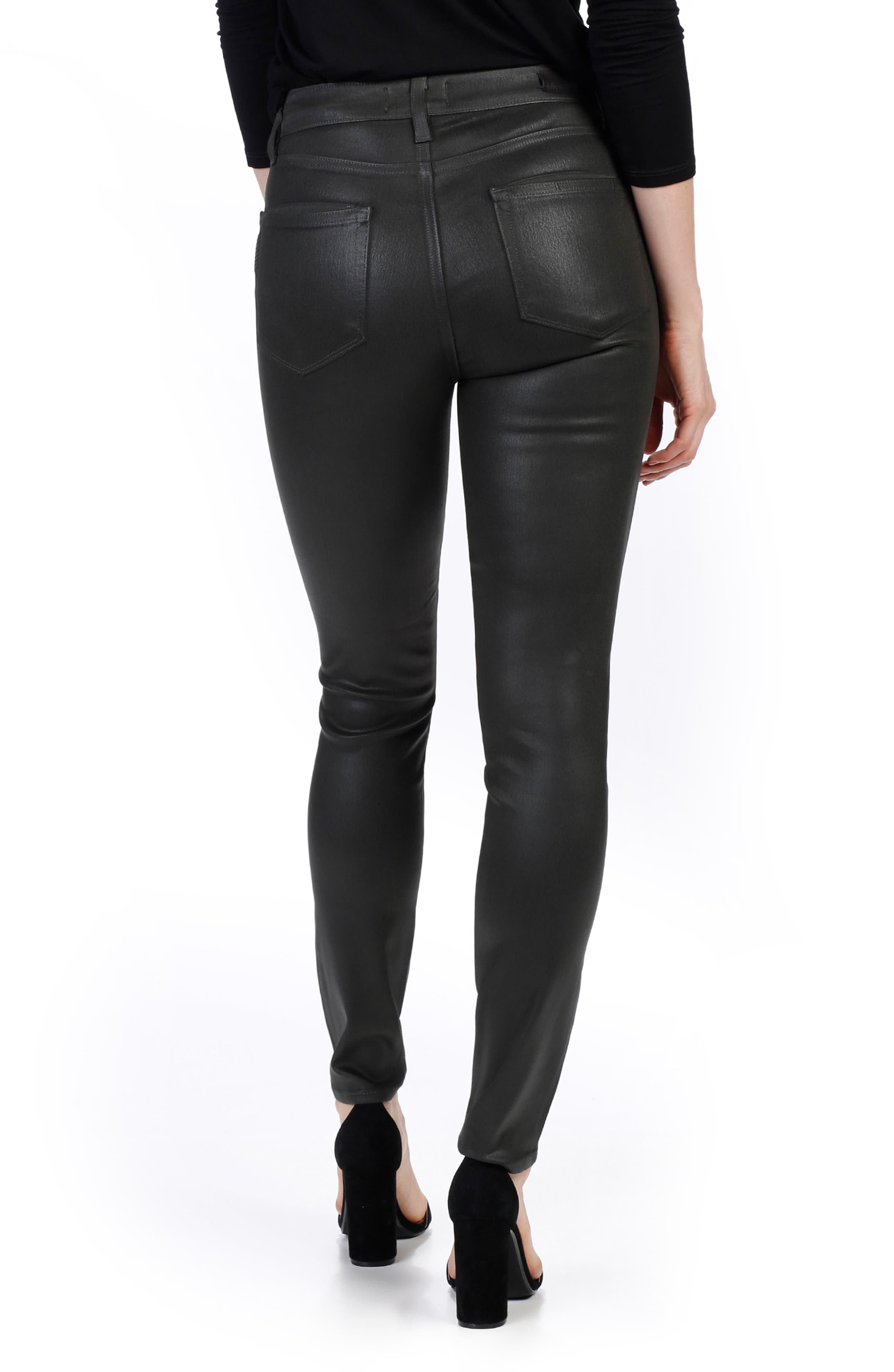 Transcend - Hoxton Coated High Waist Ankle Skinny Jeans,                             Alternate thumbnail 2, color,                             Deep Juniper Luxe Coating