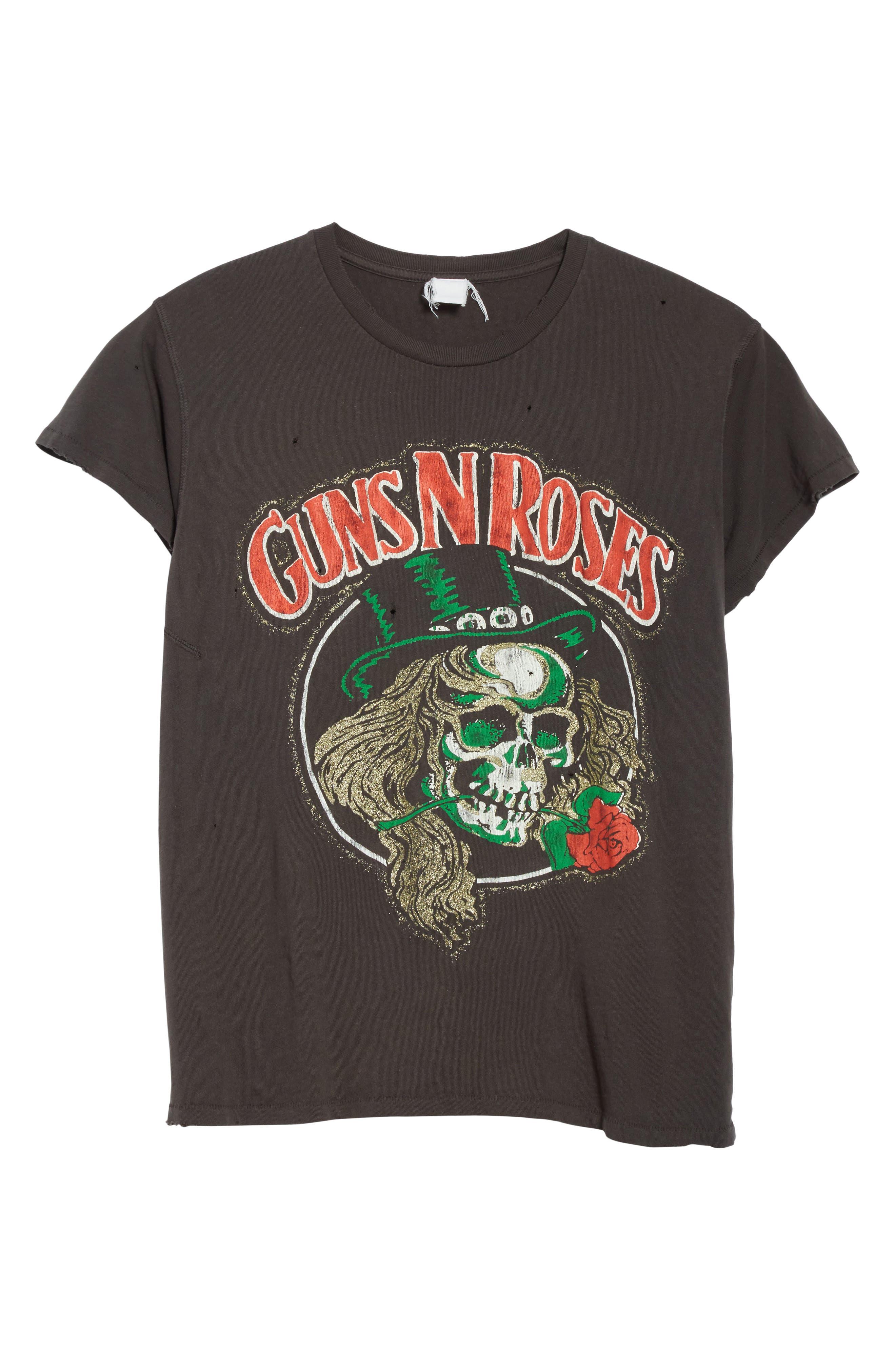 Guns N Roses Glitter Graphic T-Shirt,                             Alternate thumbnail 6, color,                             Dirty Black