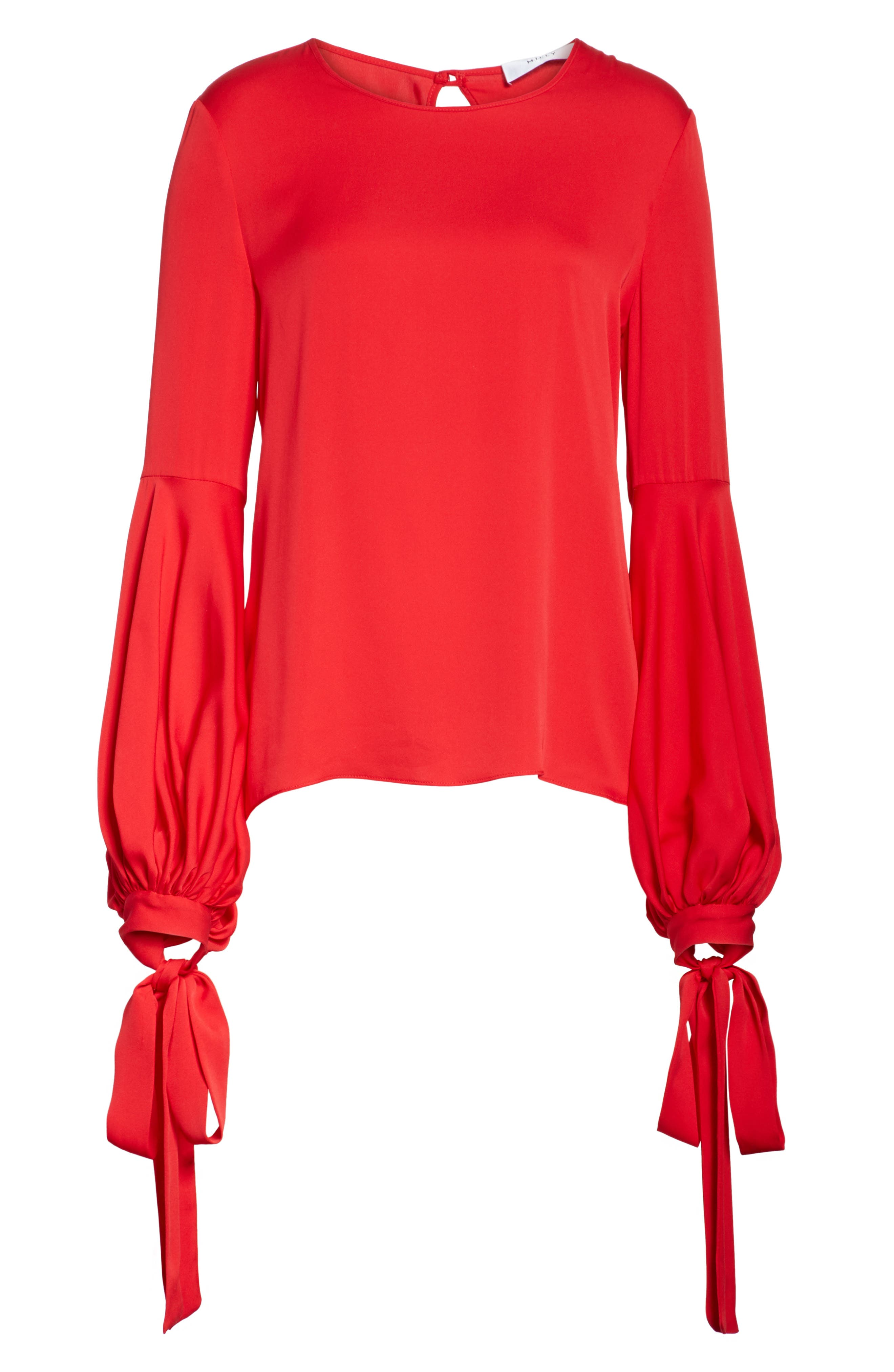 Juliette Stretch Silk Blouse,                             Alternate thumbnail 6, color,                             Lipstick Red