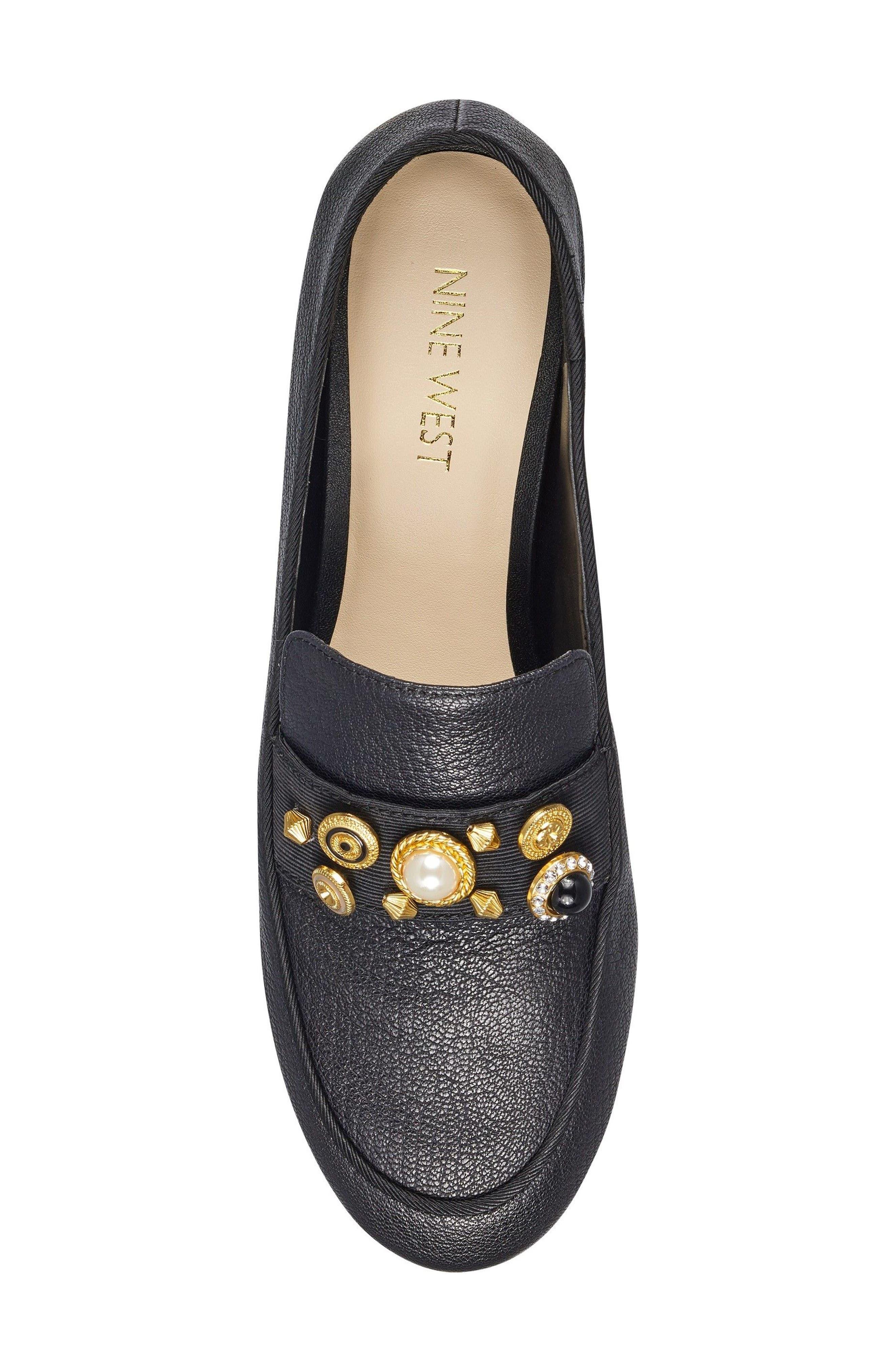 Baus Loafer Flat,                             Alternate thumbnail 5, color,                             Black/ Black Leather
