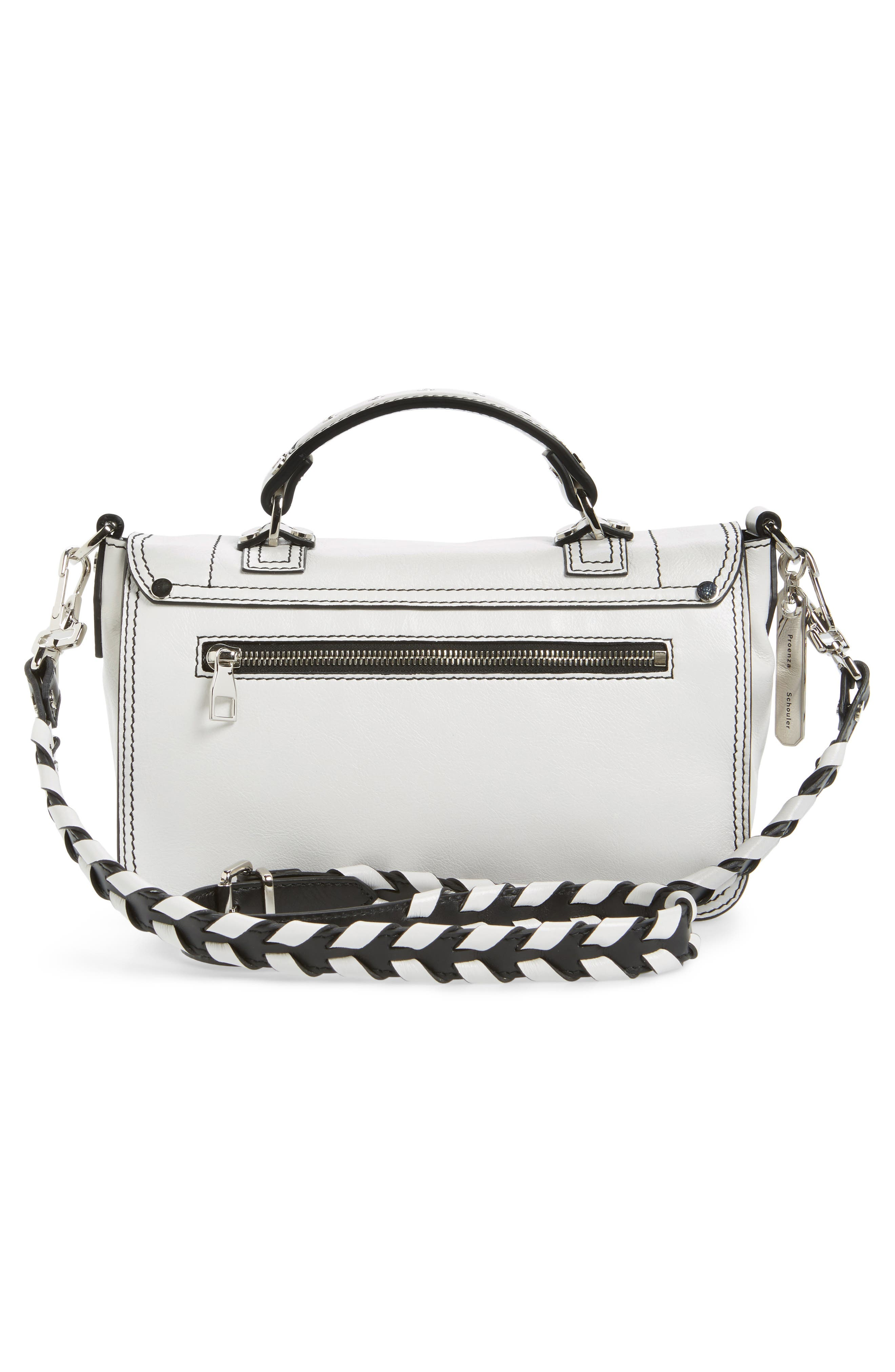 Tiny PS1 Calfskin Leather Satchel with Novelty Shoulder/Crossbody Strap,                             Alternate thumbnail 2, color,                             Optic White