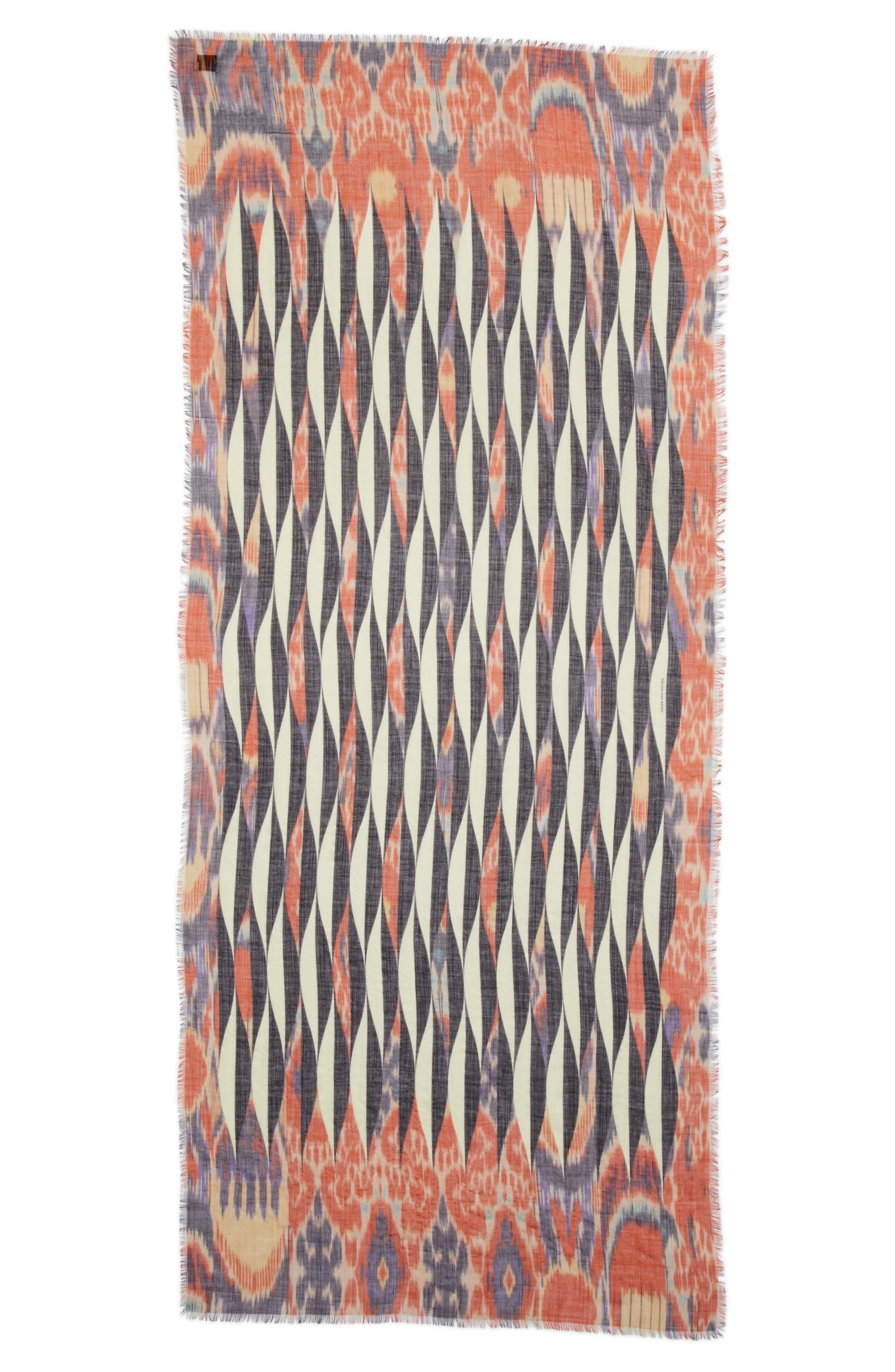 Ikat Print Cashmere Scarf,                         Main,                         color, Desb