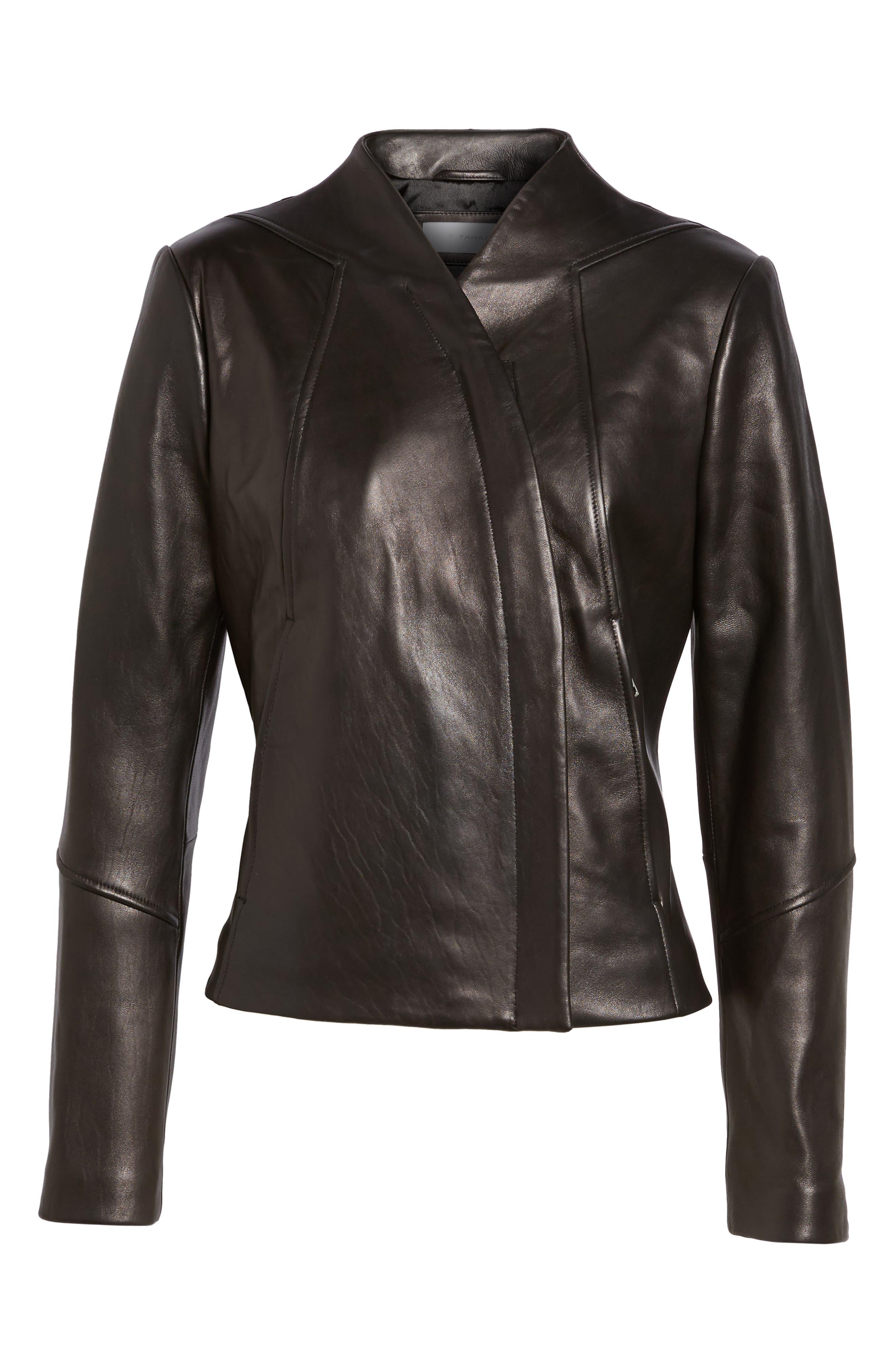 Seam Leather Jacket,                             Alternate thumbnail 5, color,                             Black