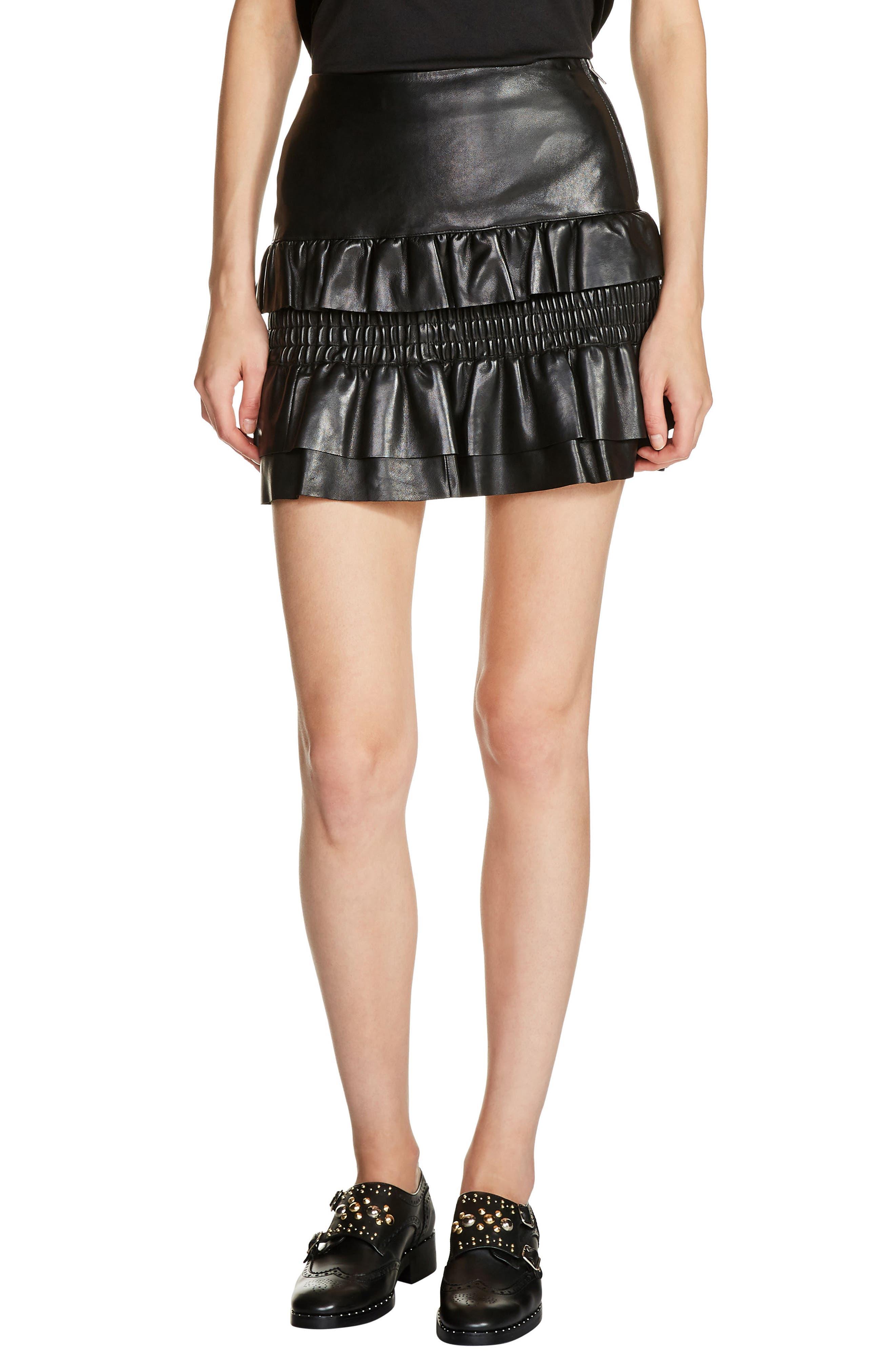 Ruffle Leather Miniskirt,                         Main,                         color, Black