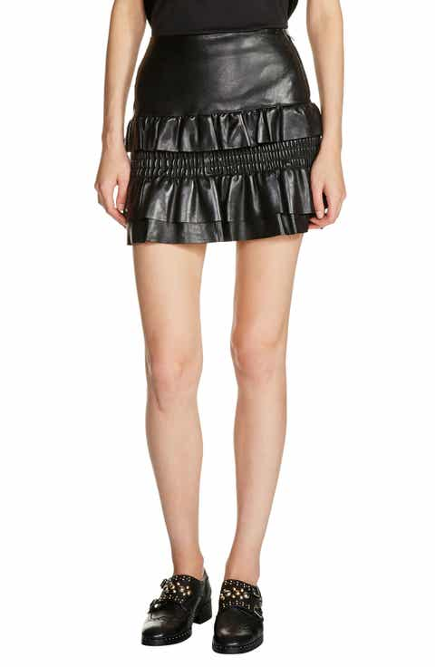 maje Ruffle Leather Miniskirt