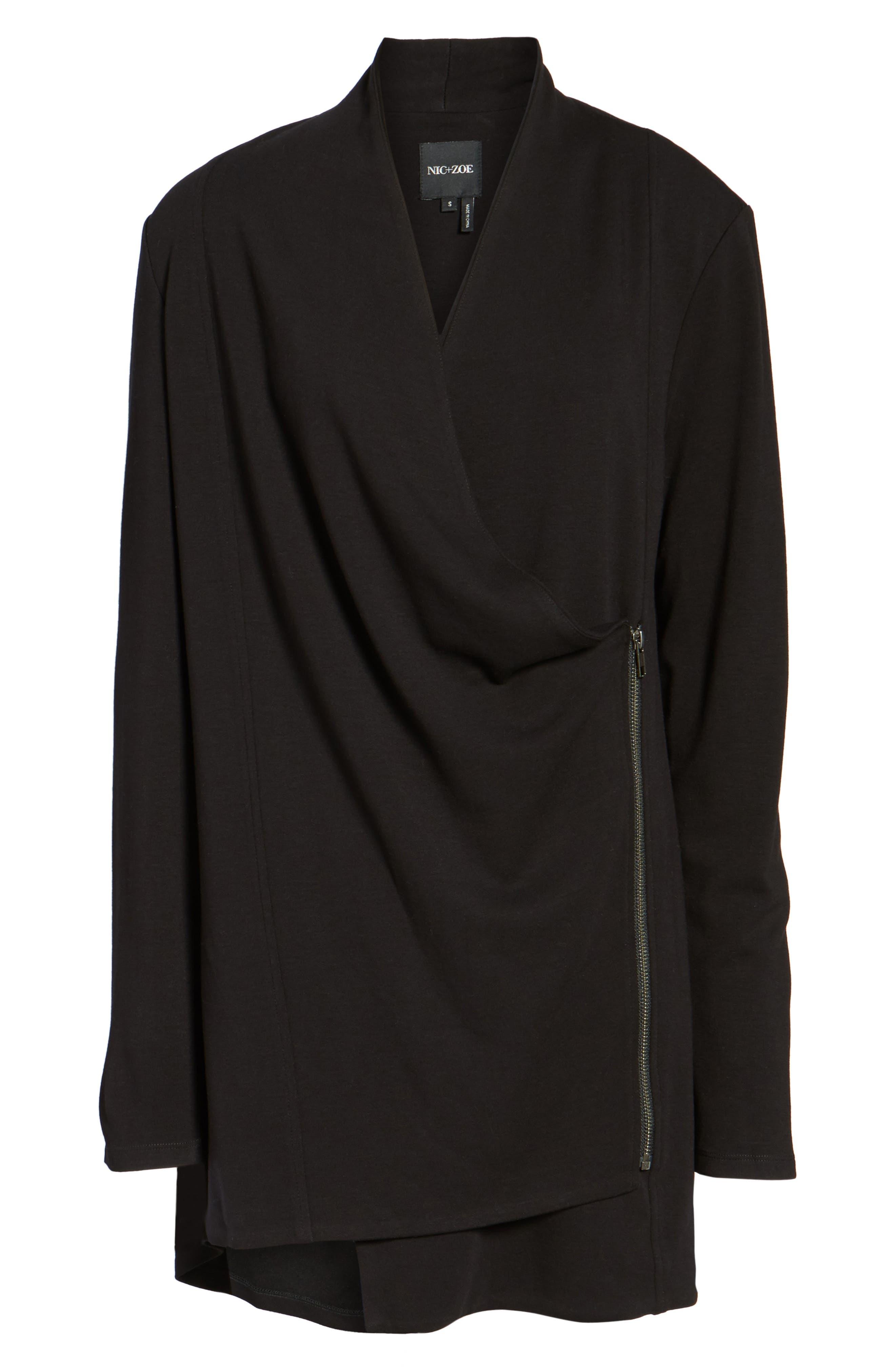 Studio Asymmetrical Zip Jacket,                             Alternate thumbnail 6, color,                             Black Onyx