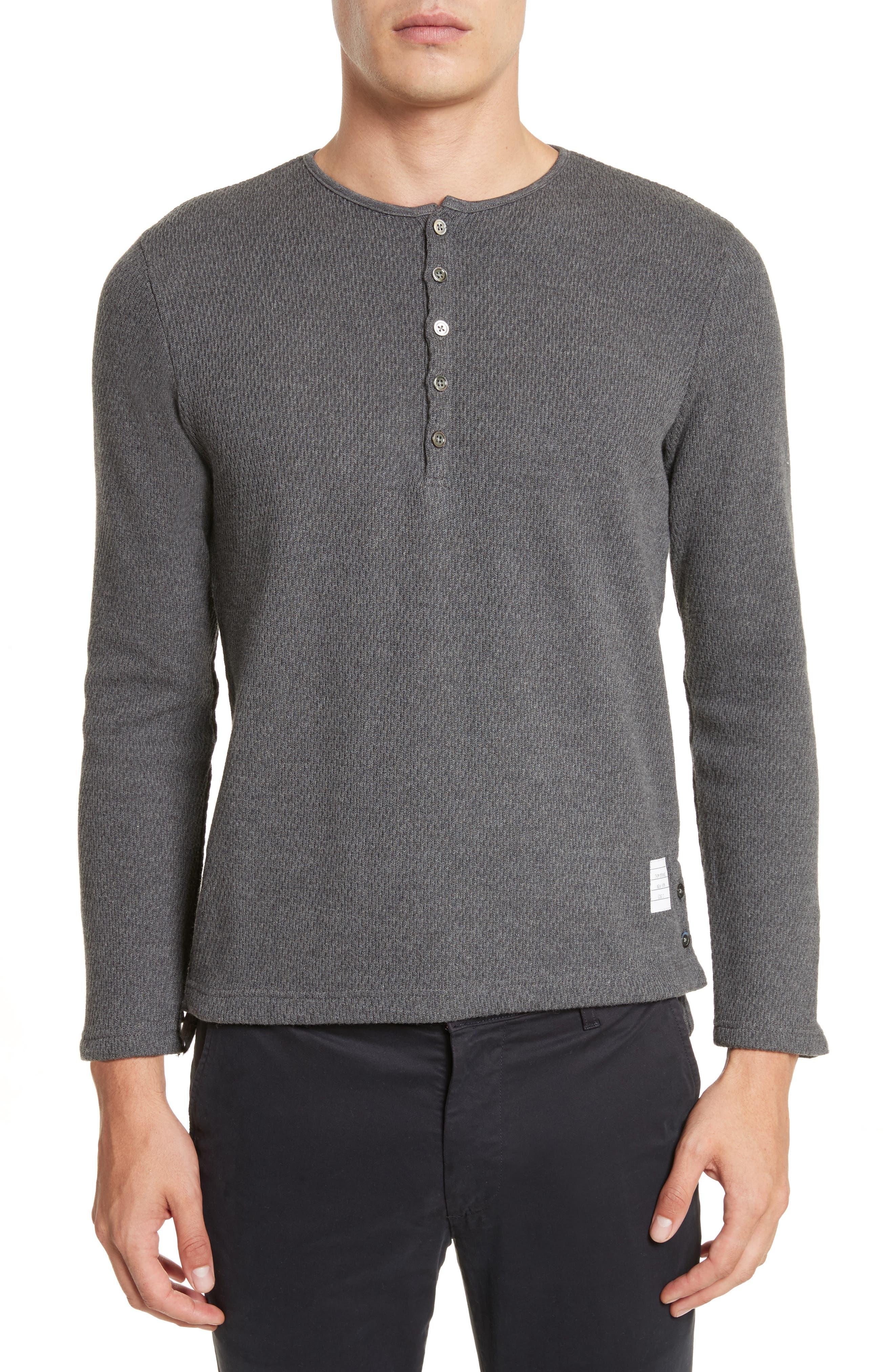 Knit Cotton Henley,                         Main,                         color, Dark Grey