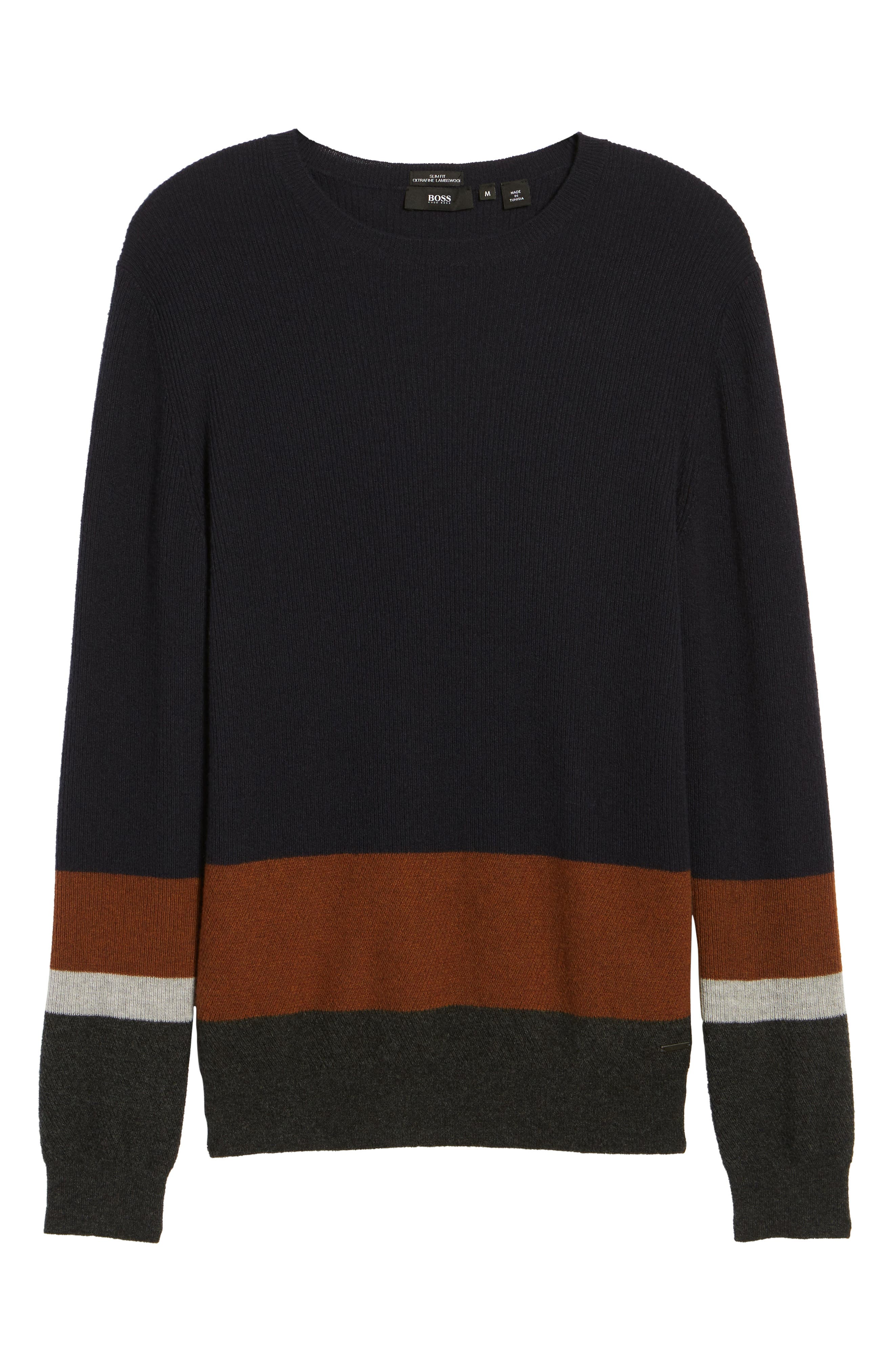 Colorblock Crewneck Sweater,                             Alternate thumbnail 5, color,                             Navy