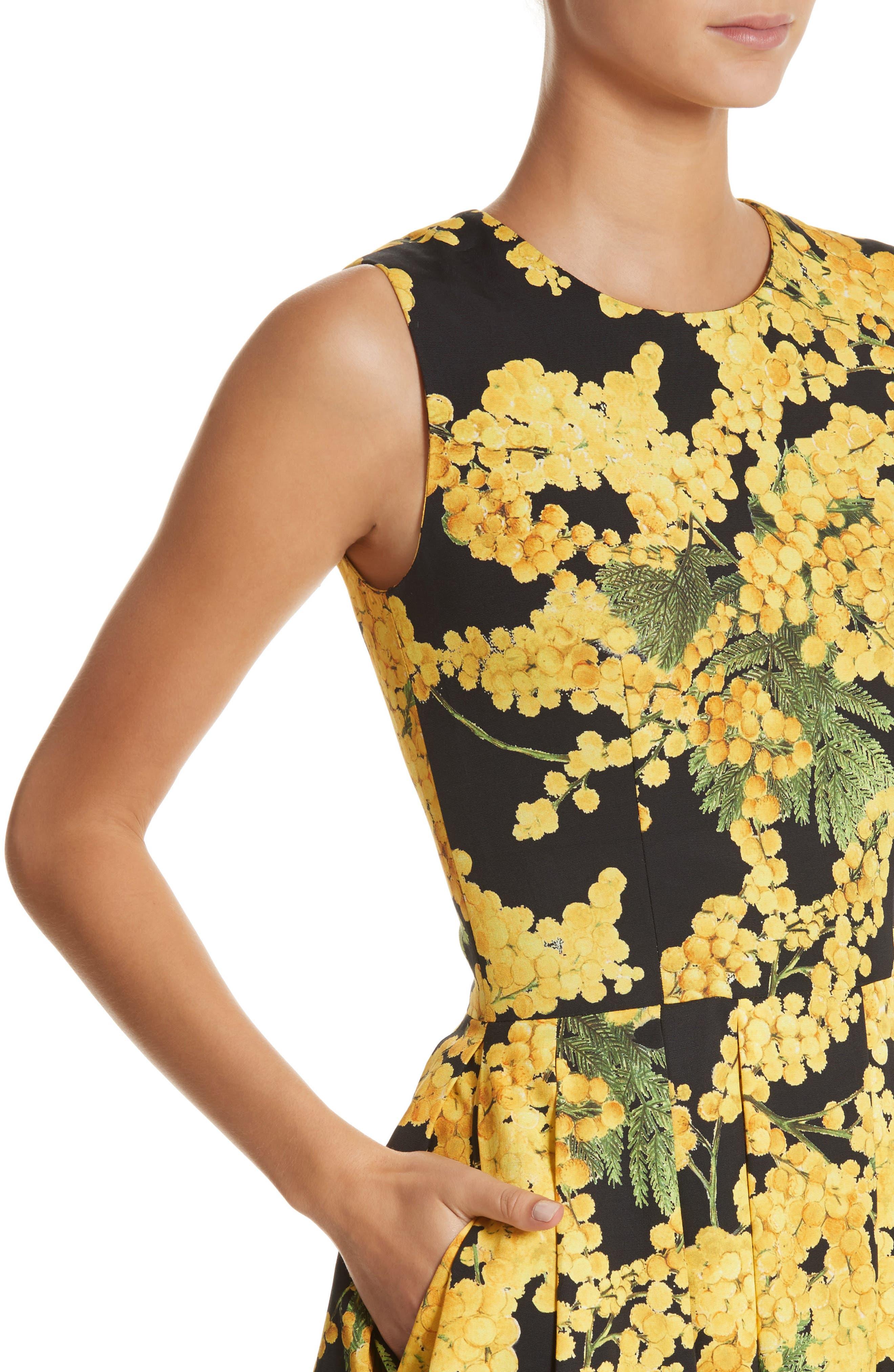 Floral Print Faille Day Dress,                             Alternate thumbnail 4, color,                             Freesia Yellow/Black