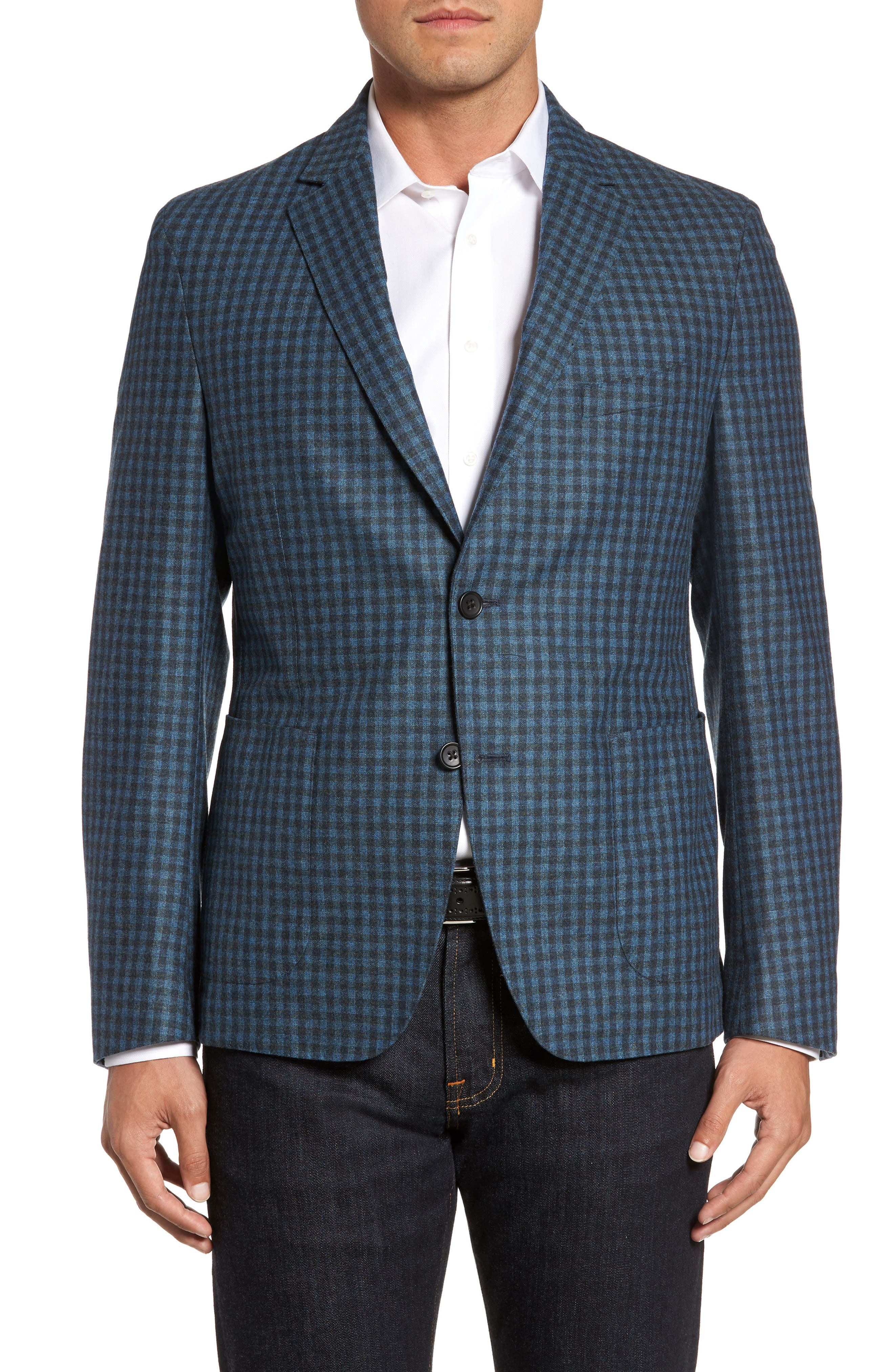 Check Wool Sport Coat,                         Main,                         color, Blue