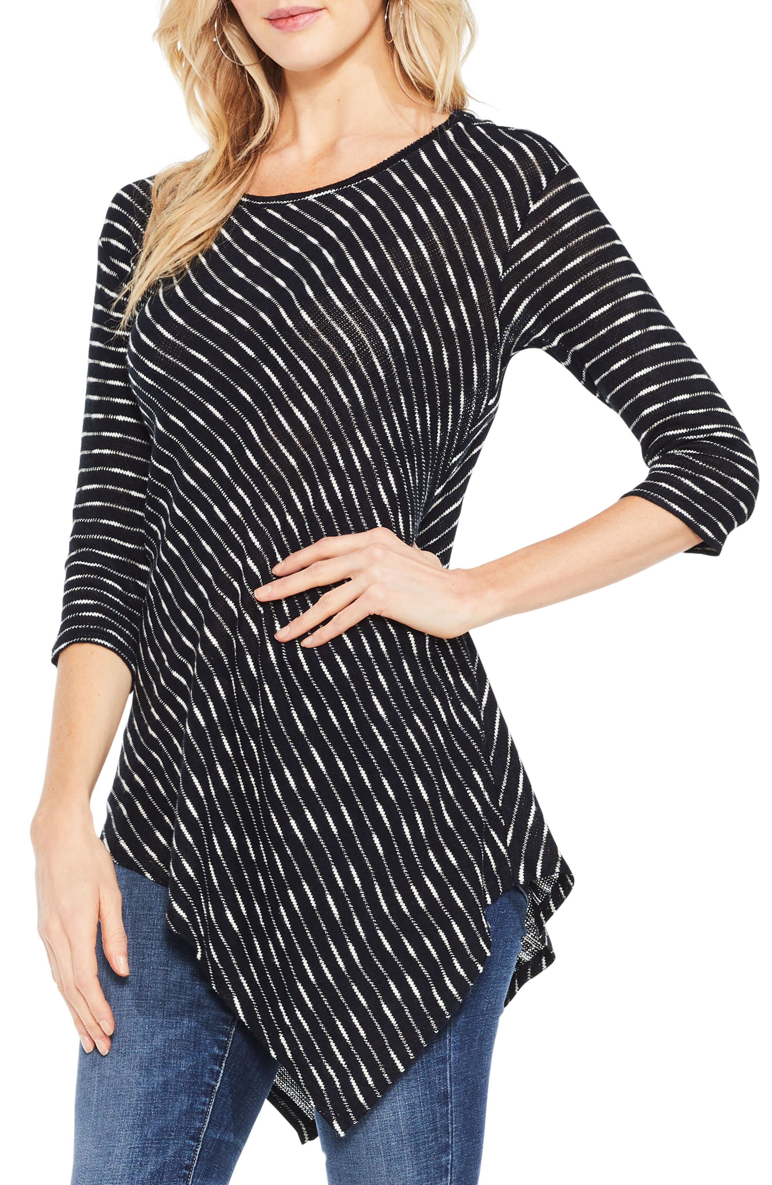 Main Image - Two by Vince Camuto Asymmetrical Stripe Top